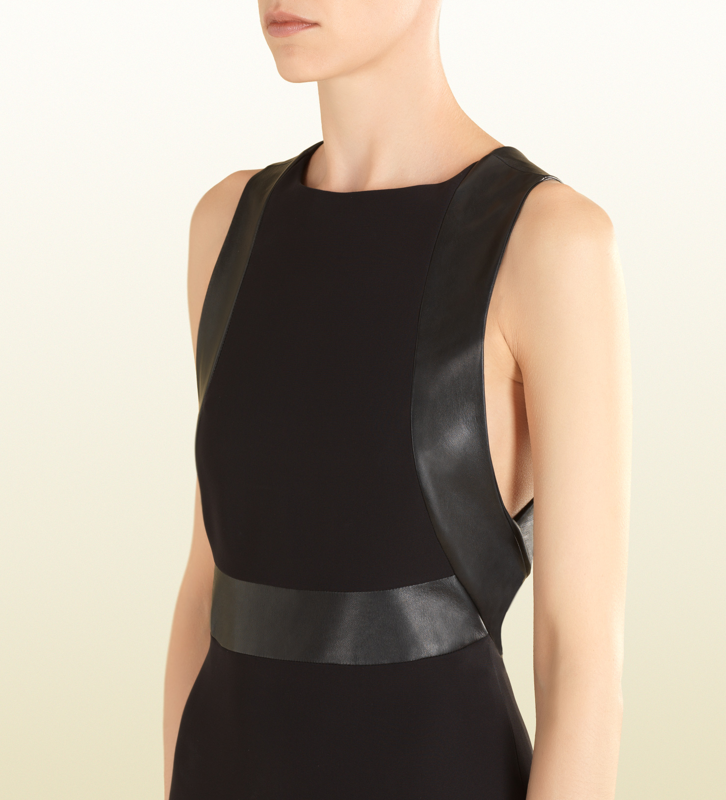 Gucci Black Silk Dress with Leather Trim in Black | Lyst