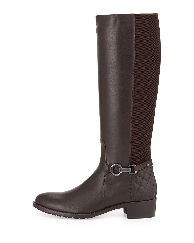 aquatalia oralie leather boot in brown lyst