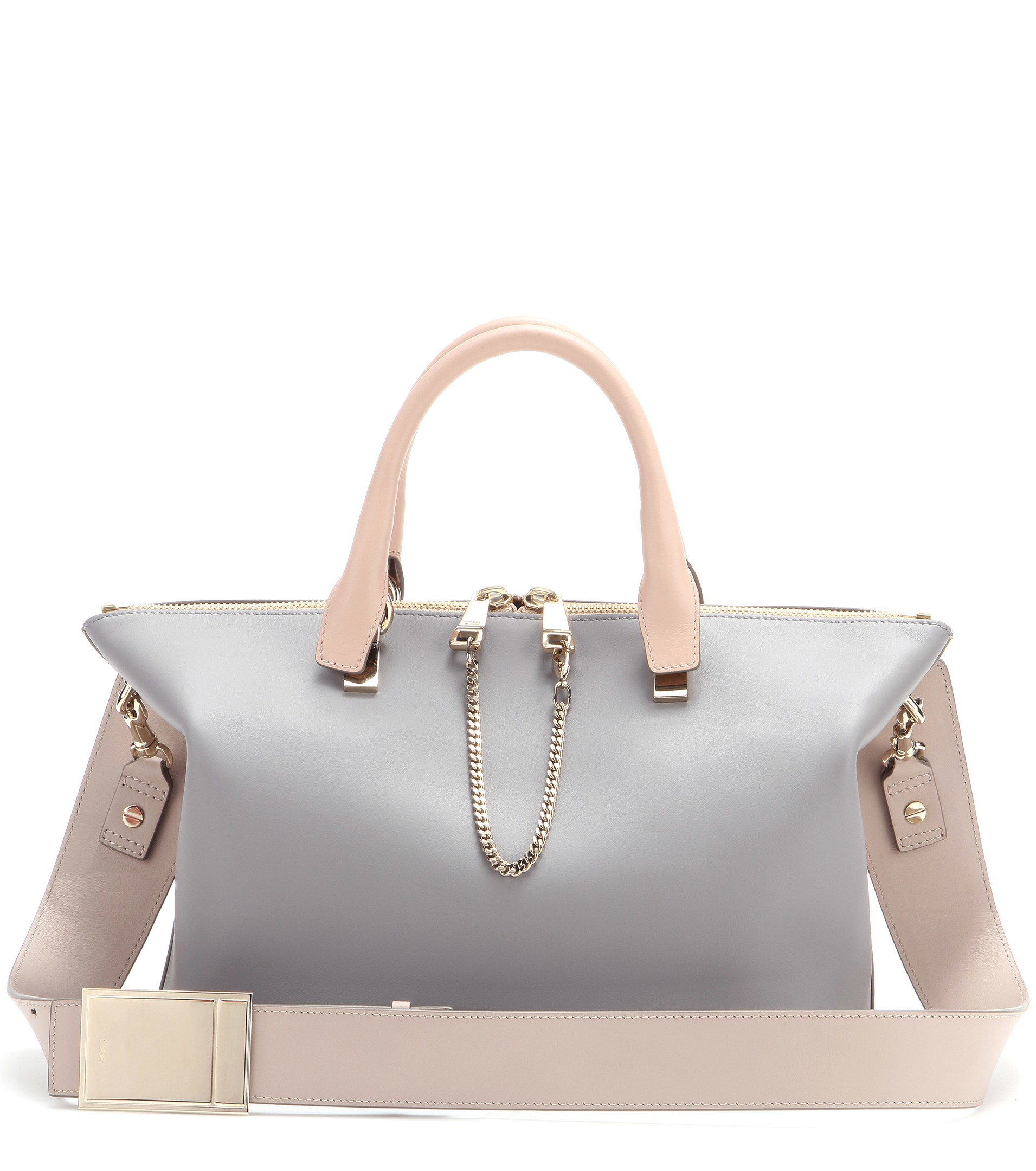 Chlo¨¦ Baylee Medium Leather Tote in Gray (Cashmere Grey/Rope Beige ...