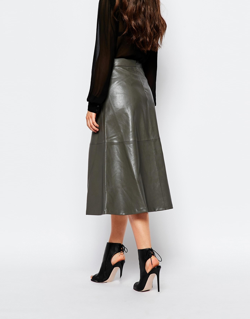 Mango A Line Midi Faux Leather Skirt in Gray | Lyst