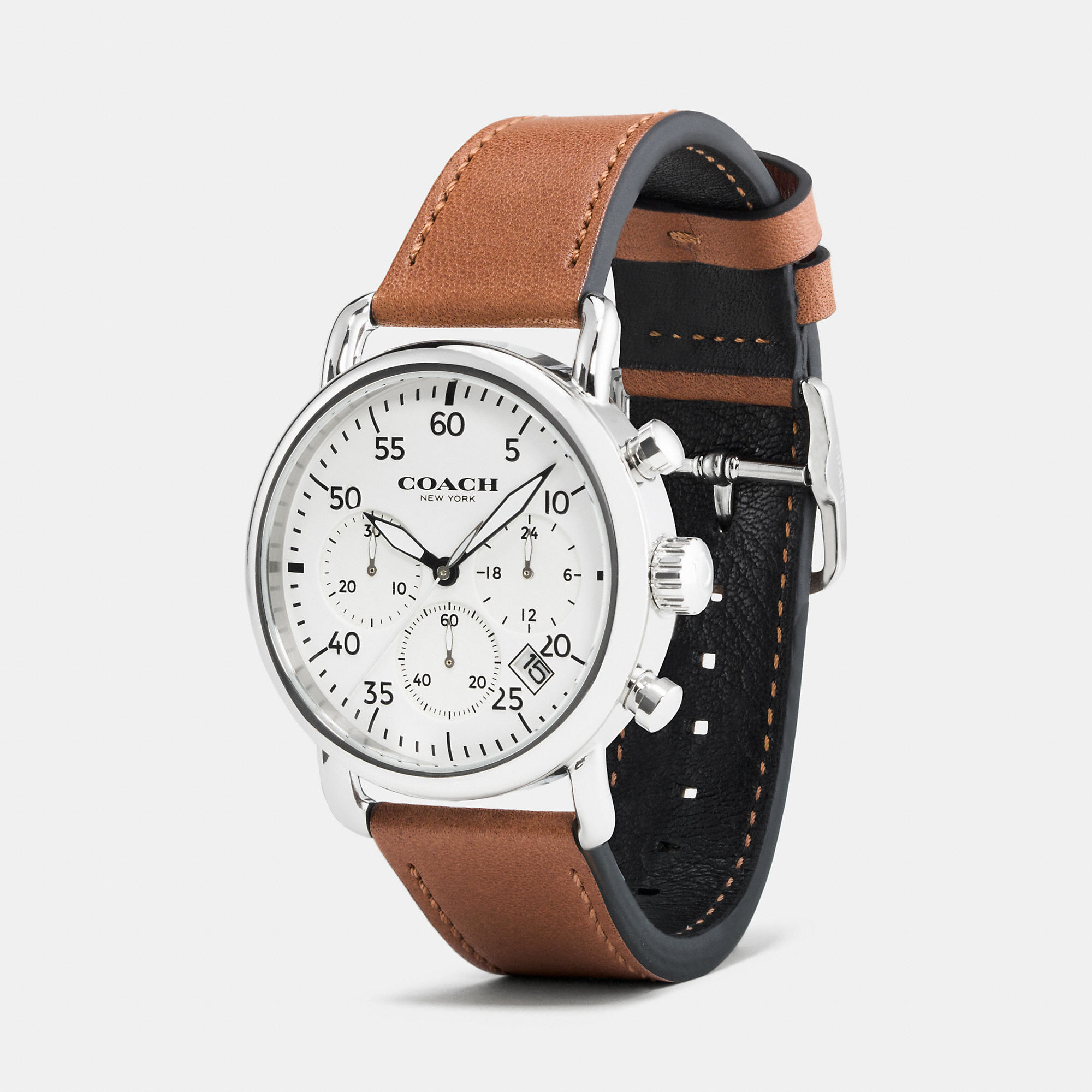 coach 75th anniversary delancey stainless steel leather strap gallery