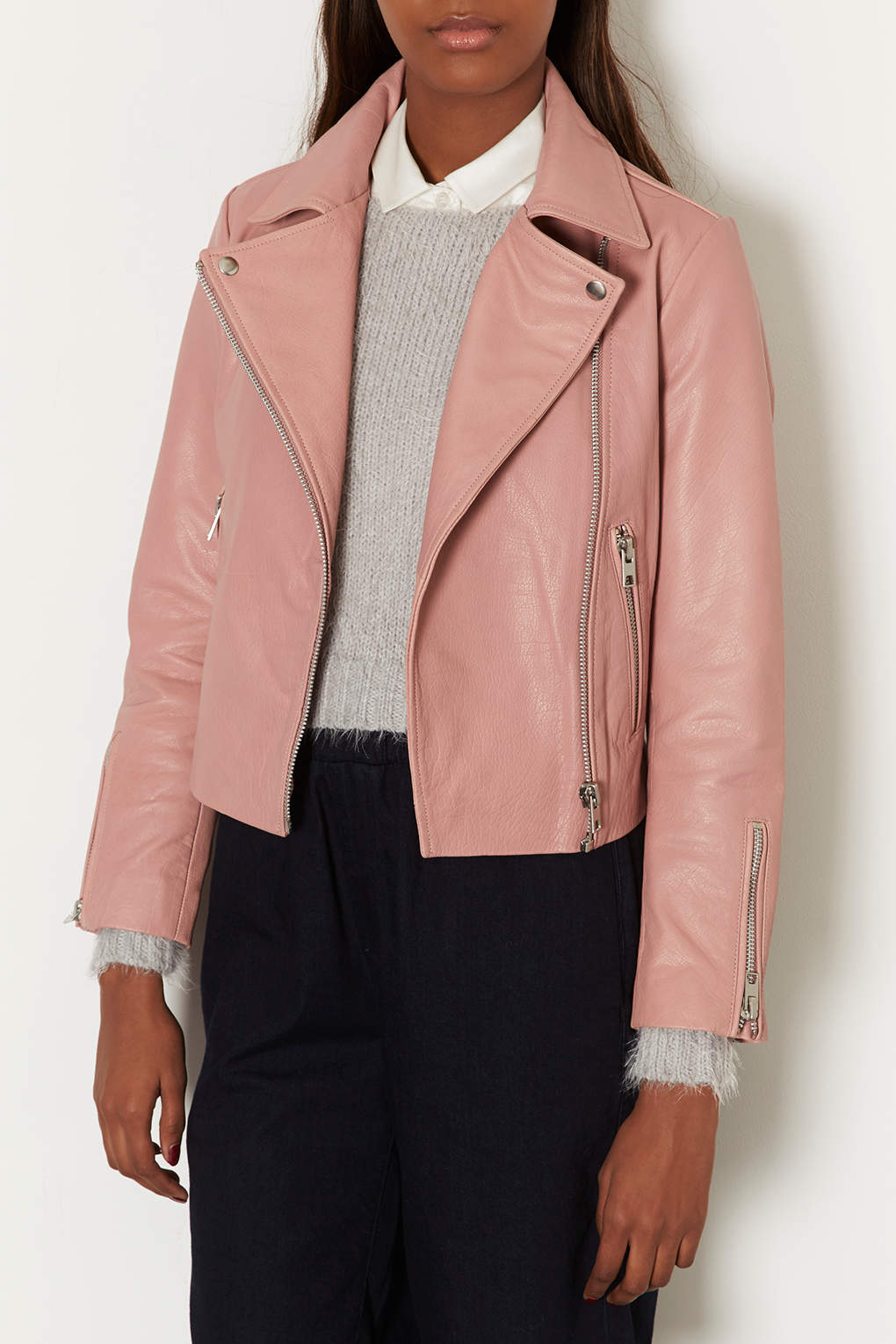Topshop Boxy Leather Biker Jacket in Pink | Lyst