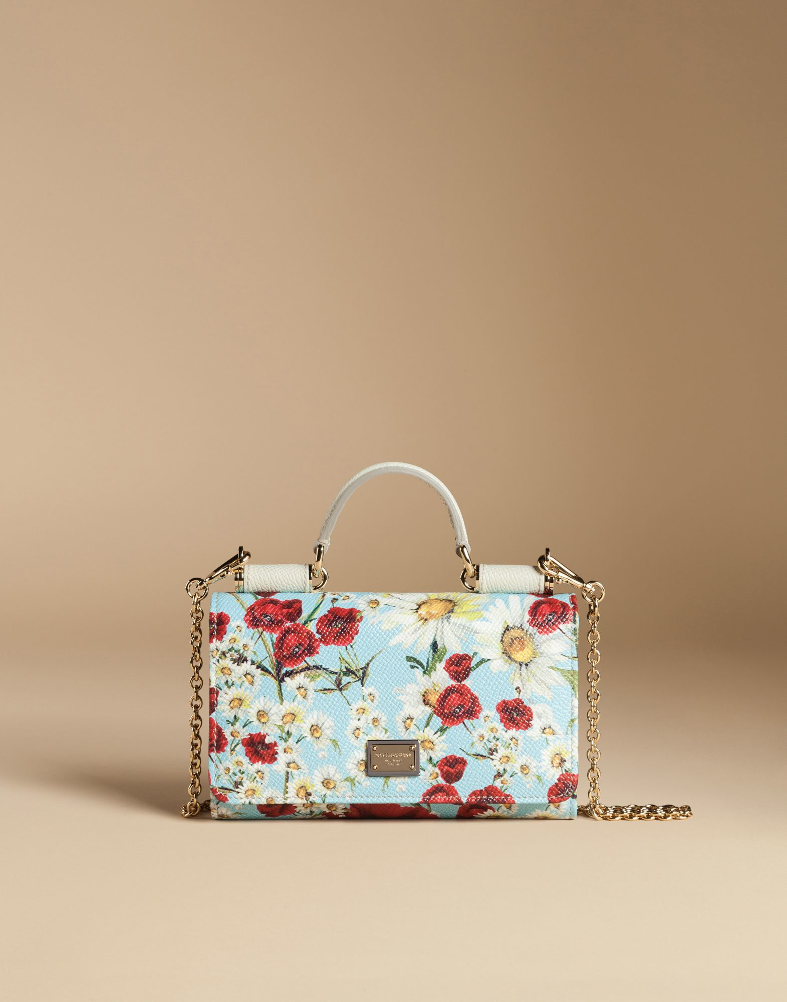 ... half off 47e83 3a639 Dolce Gabbana - Blue Mini Von Bag In Printed  Dauphine Leather ... 1ddffb3b92453