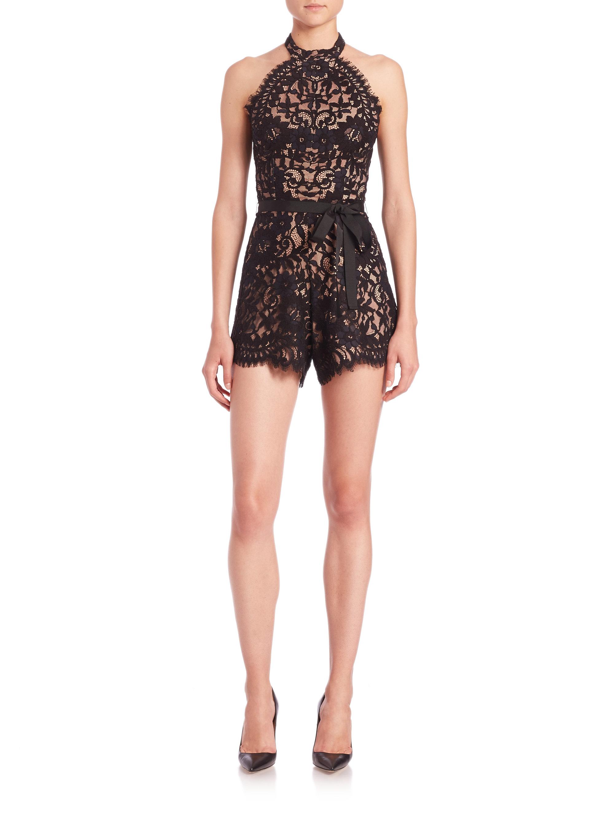 9f4b72808234 Lyst - Alexis Margot Lace Short Jumpsuit in Black