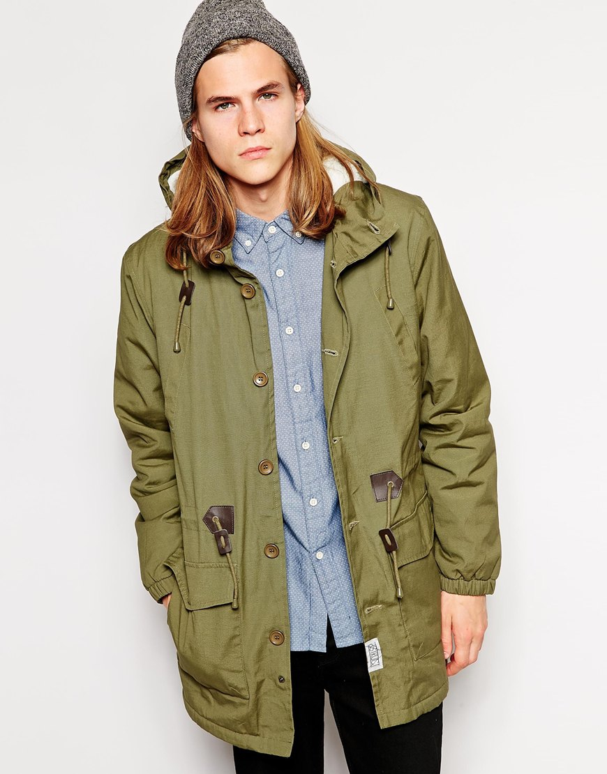 D-struct Parka Jacket With Sherpa Lining in Green for Men | Lyst