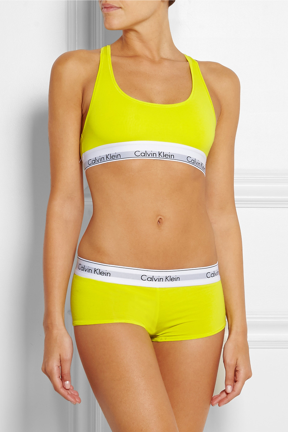Lyst - Calvin Klein Modern Stretch Cotton-Blend Soft-Cup Bra in Yellow 01a36c178