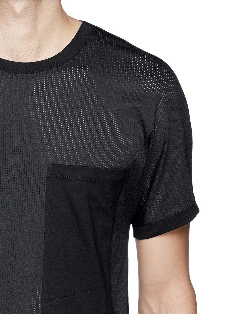 Helmut lang 39 smlssst 39 mesh cotton jersey t shirt in black for Helmut lang t shirt