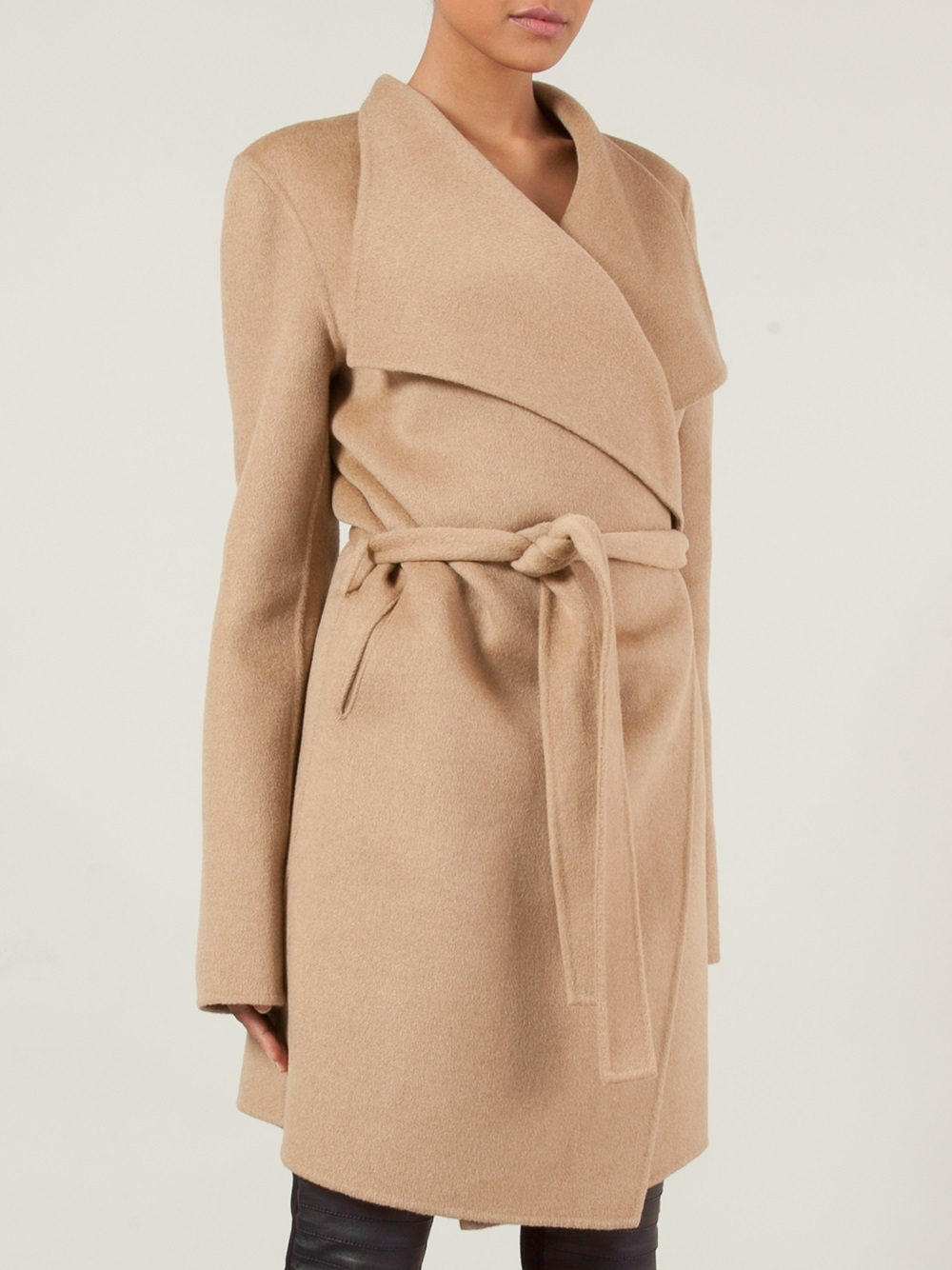 Joseph Belted Wrap Coat In Brown Lyst