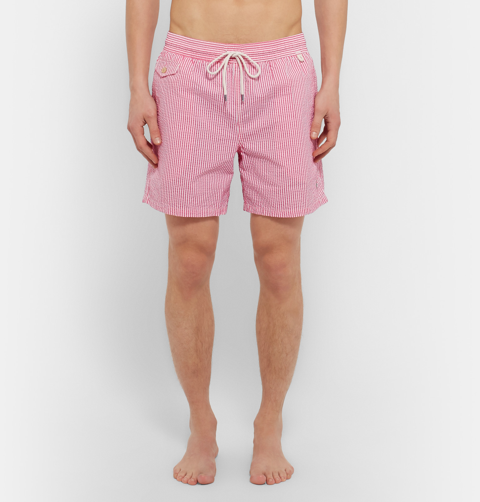 d7f8af537f Polo Ralph Lauren Traveler Striped Seersucker Swim Shorts in Pink ...
