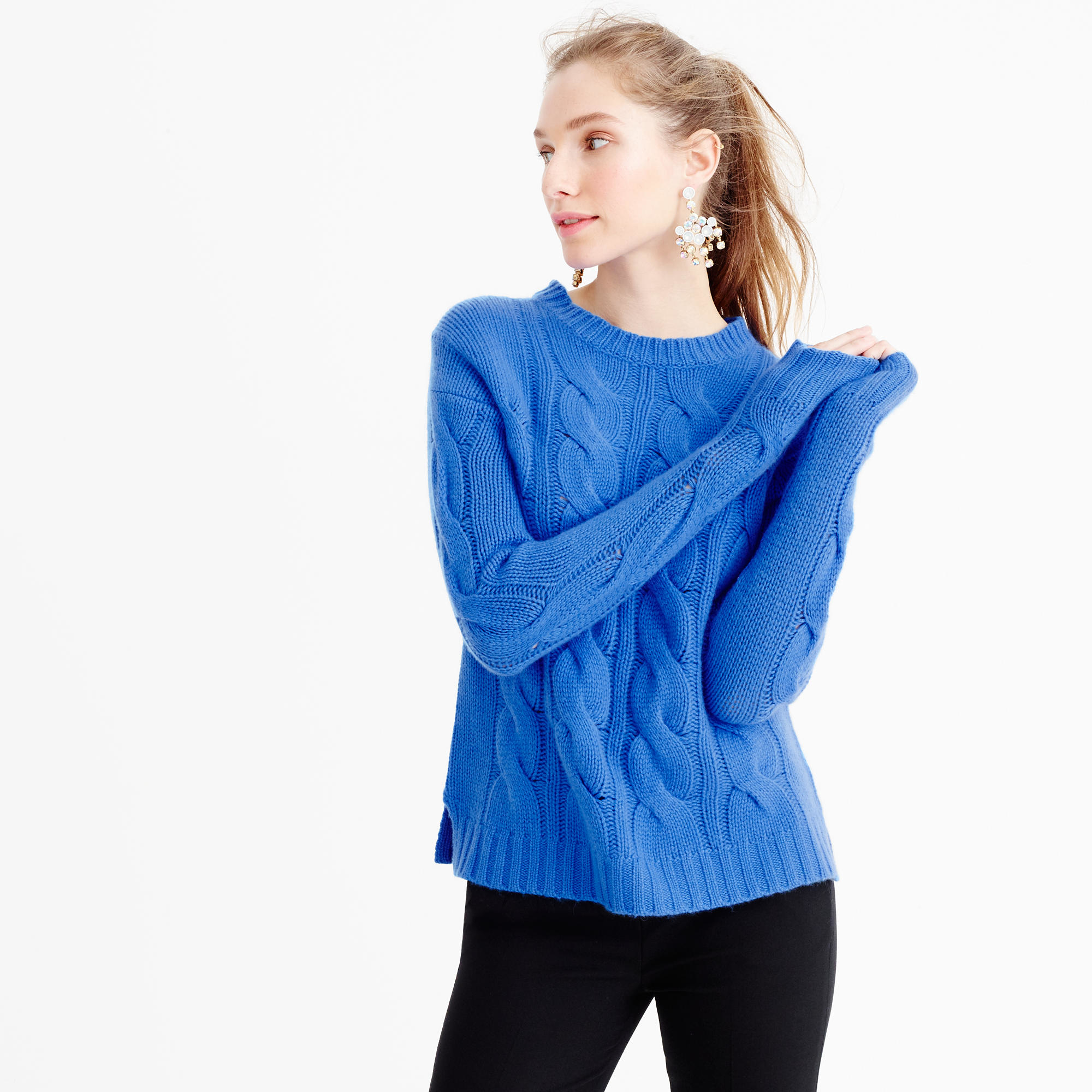 J.crew Italian Cashmere Cable Sweater in Blue   Lyst