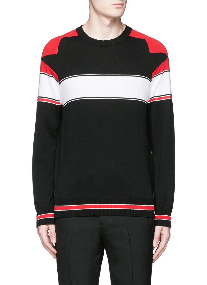 givenchy intarsia panel cotton sweater in black for men lyst. Black Bedroom Furniture Sets. Home Design Ideas