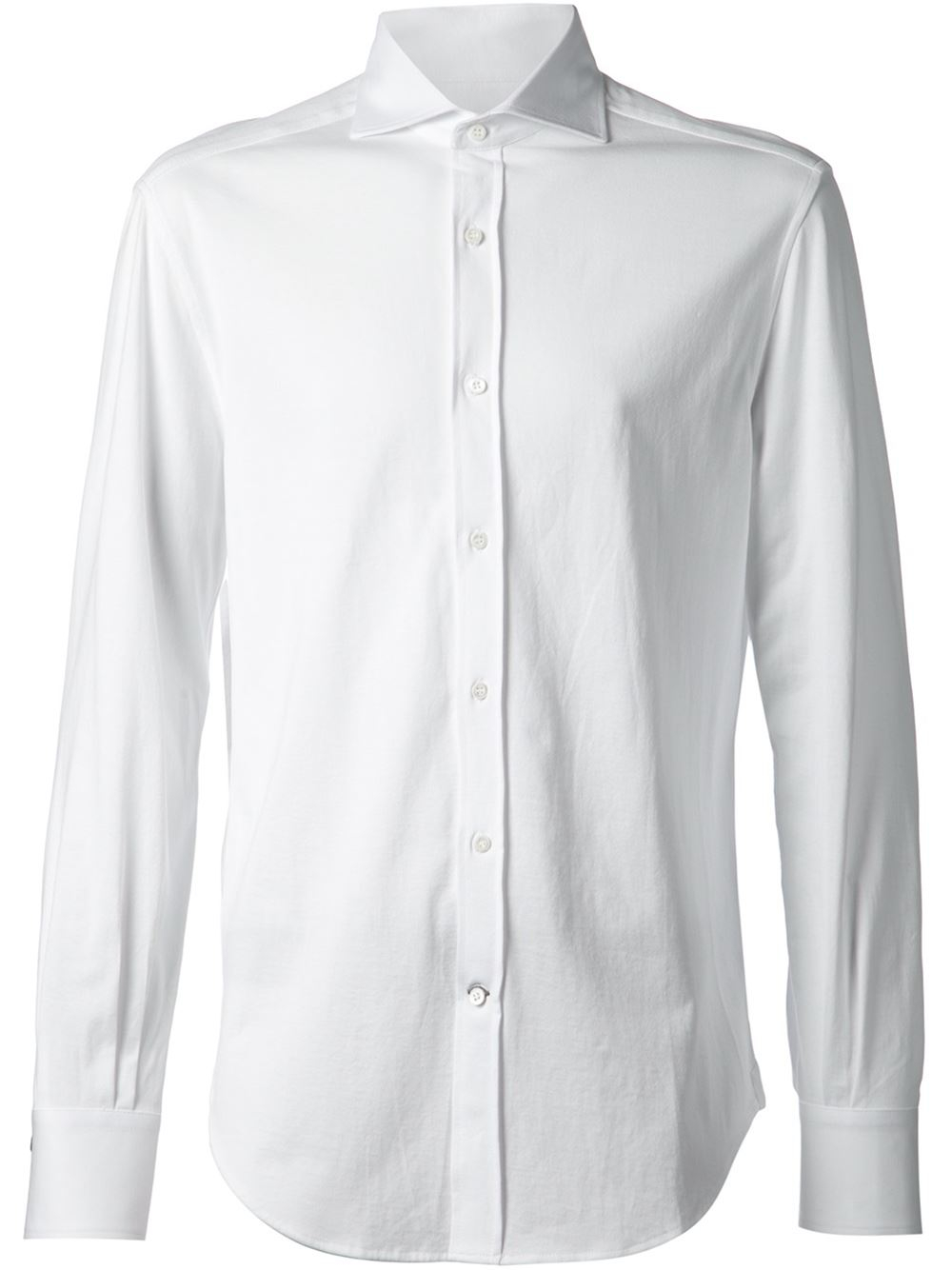 Brunello cucinell spread collar shirt in white for men lyst for Men s spread collar shirts
