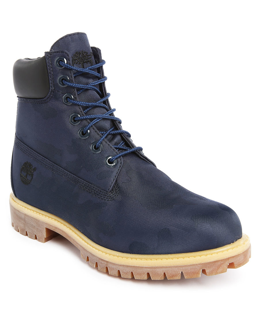 timberland 6 inch blue leather boots in blue for lyst
