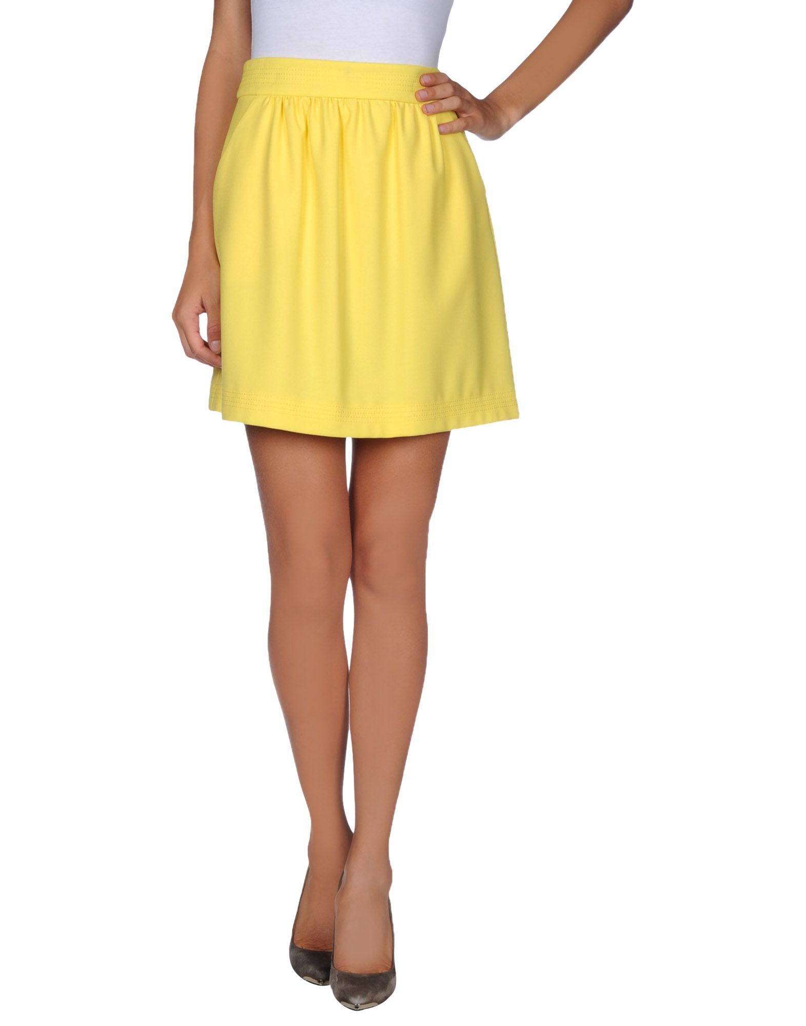 valentino knee length skirt in yellow lyst