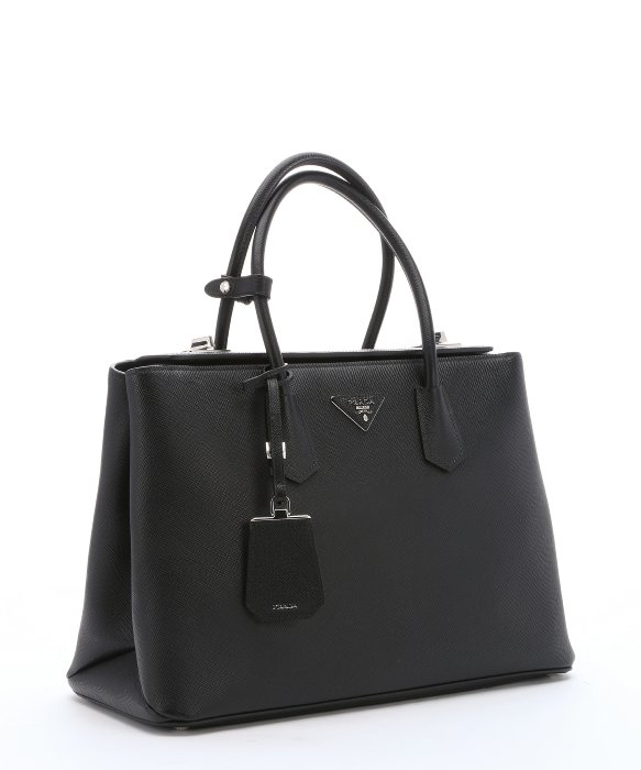 Prada Black Leather Structured Tote Bag in Black | Lyst