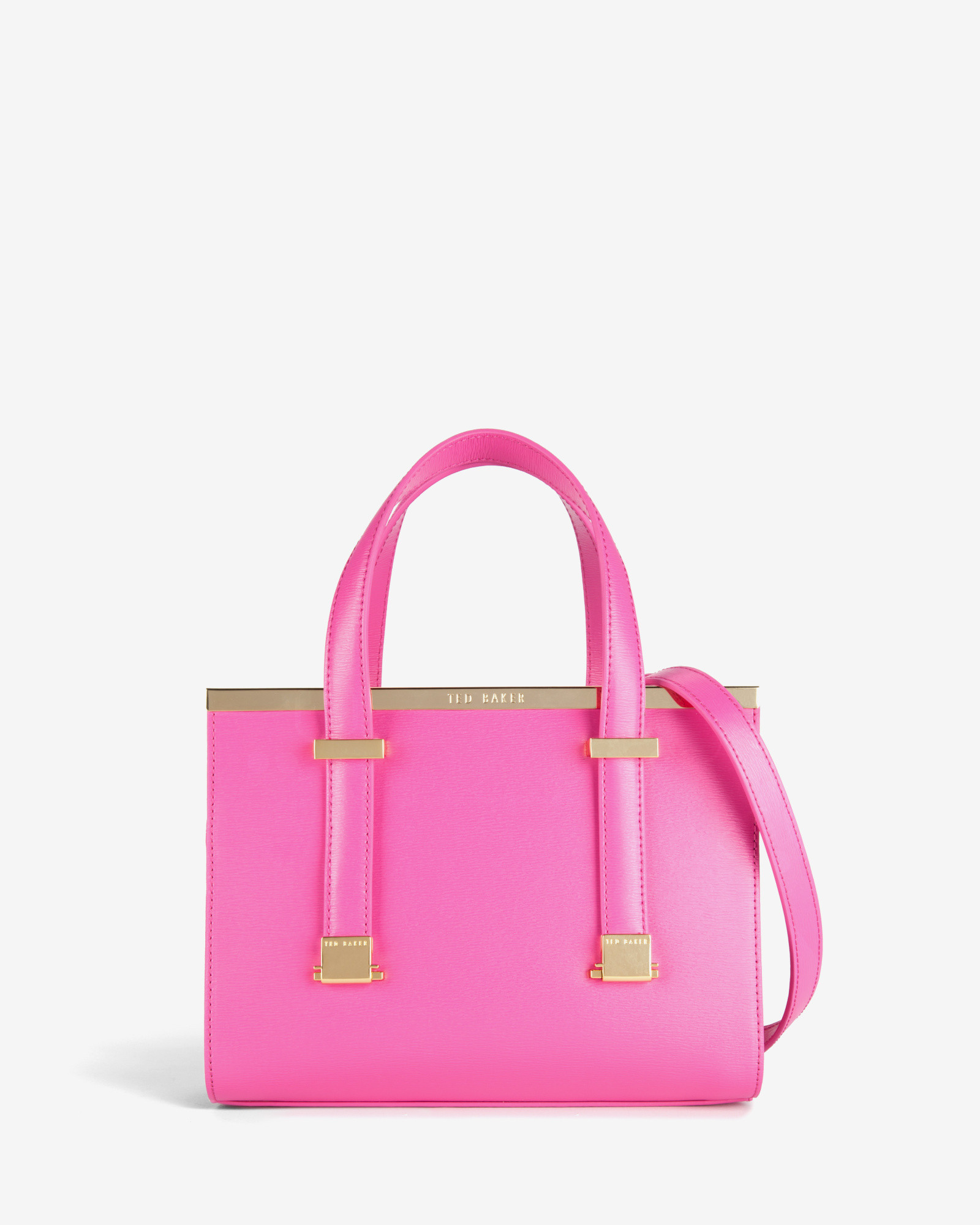 Ted Baker Small Crosshatch Leather Tote Bag In Pink
