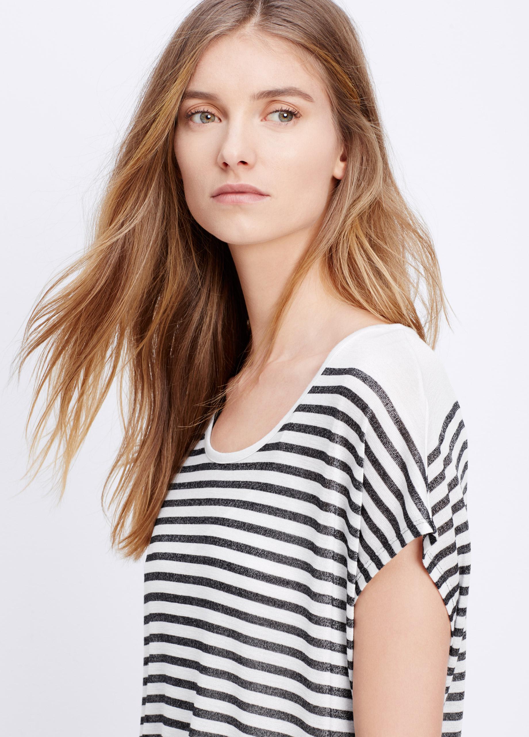 7924a3324537 Vince Variegated Stripes Mouline T-Shirt Dress in Black - Lyst