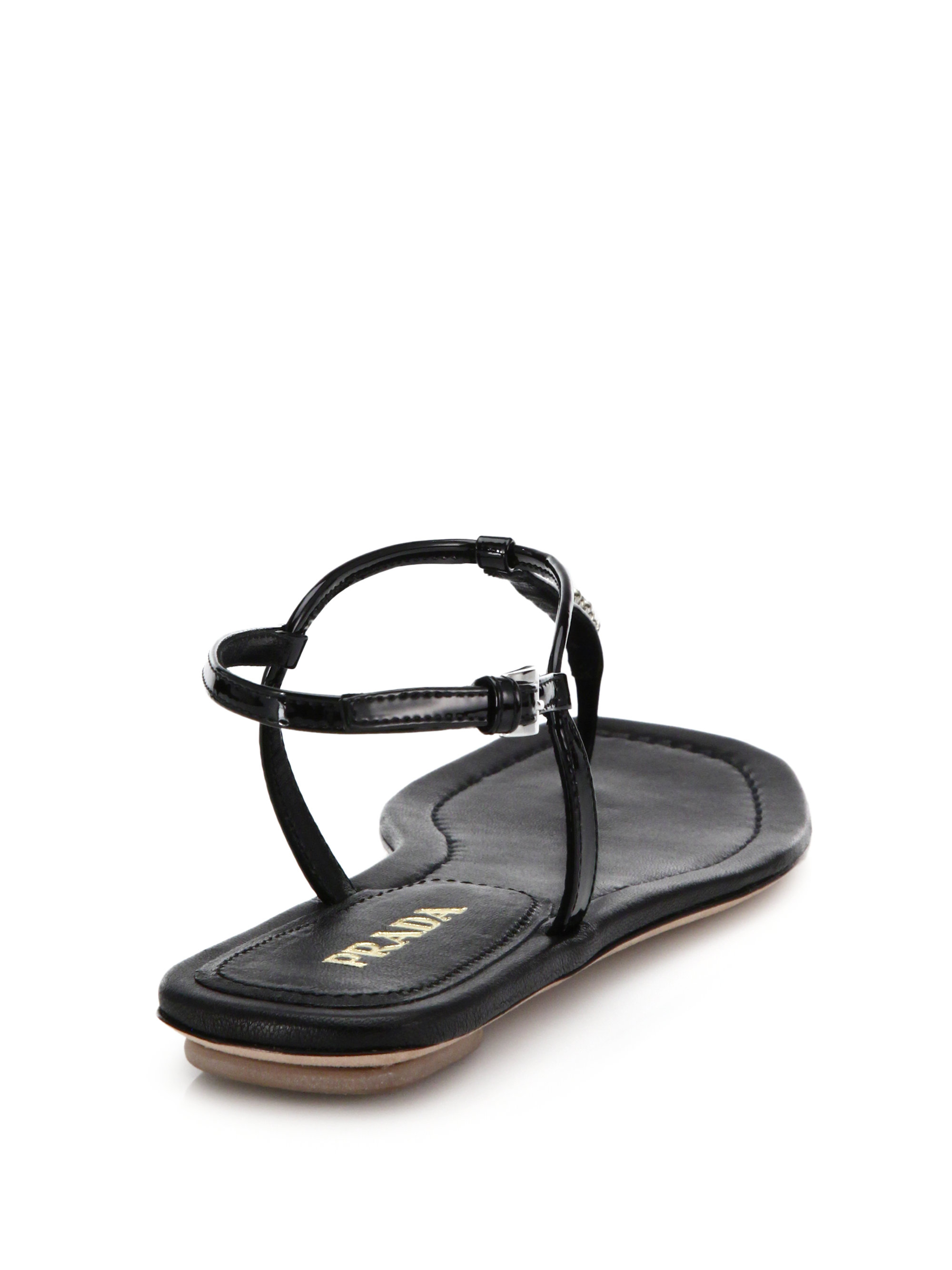 34de95d76c8 Lyst - Prada Swarovski Crystal Flat Leather Sandals in Black