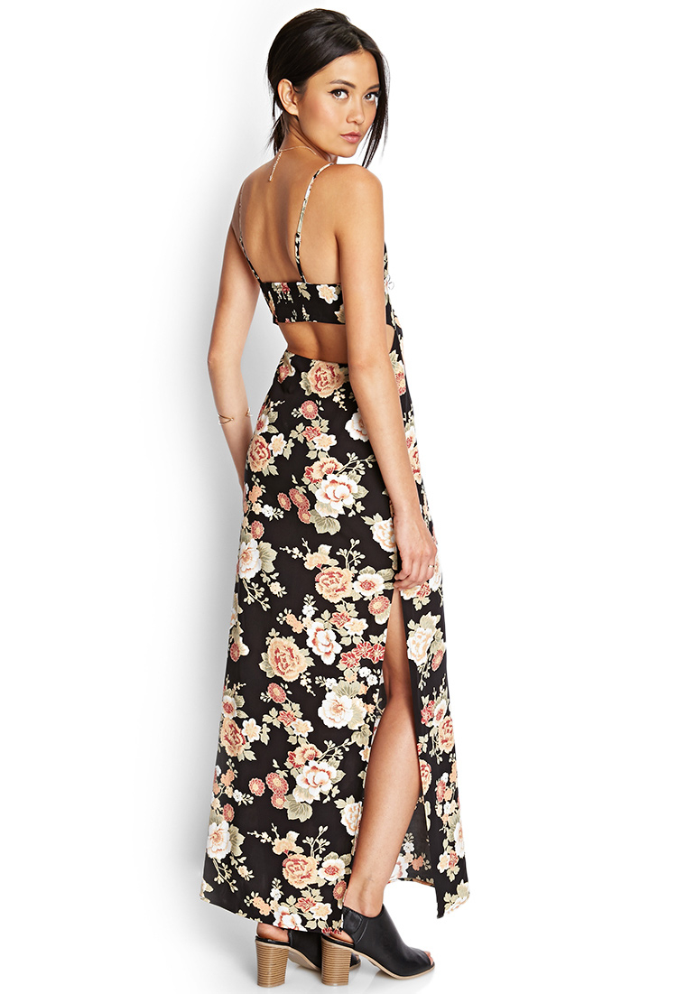 Forever 21 Cutout Floral Maxi Dress | Lyst