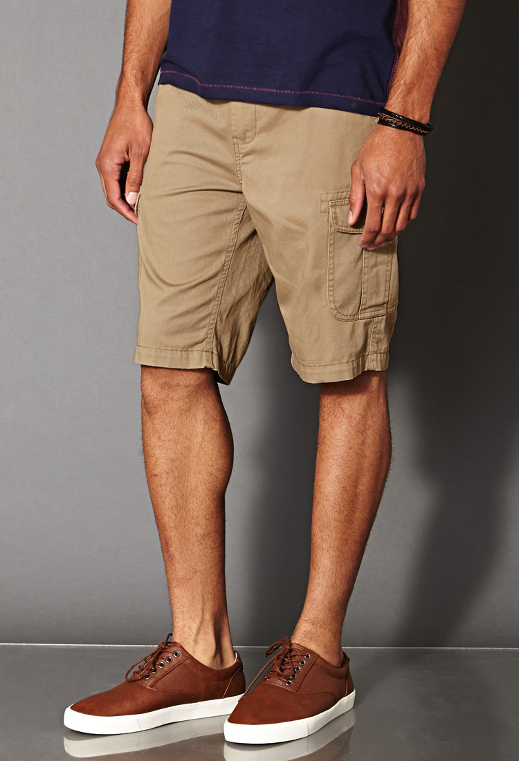 Forever 21 Cotton Cargo Shorts in Natural for Men | Lyst