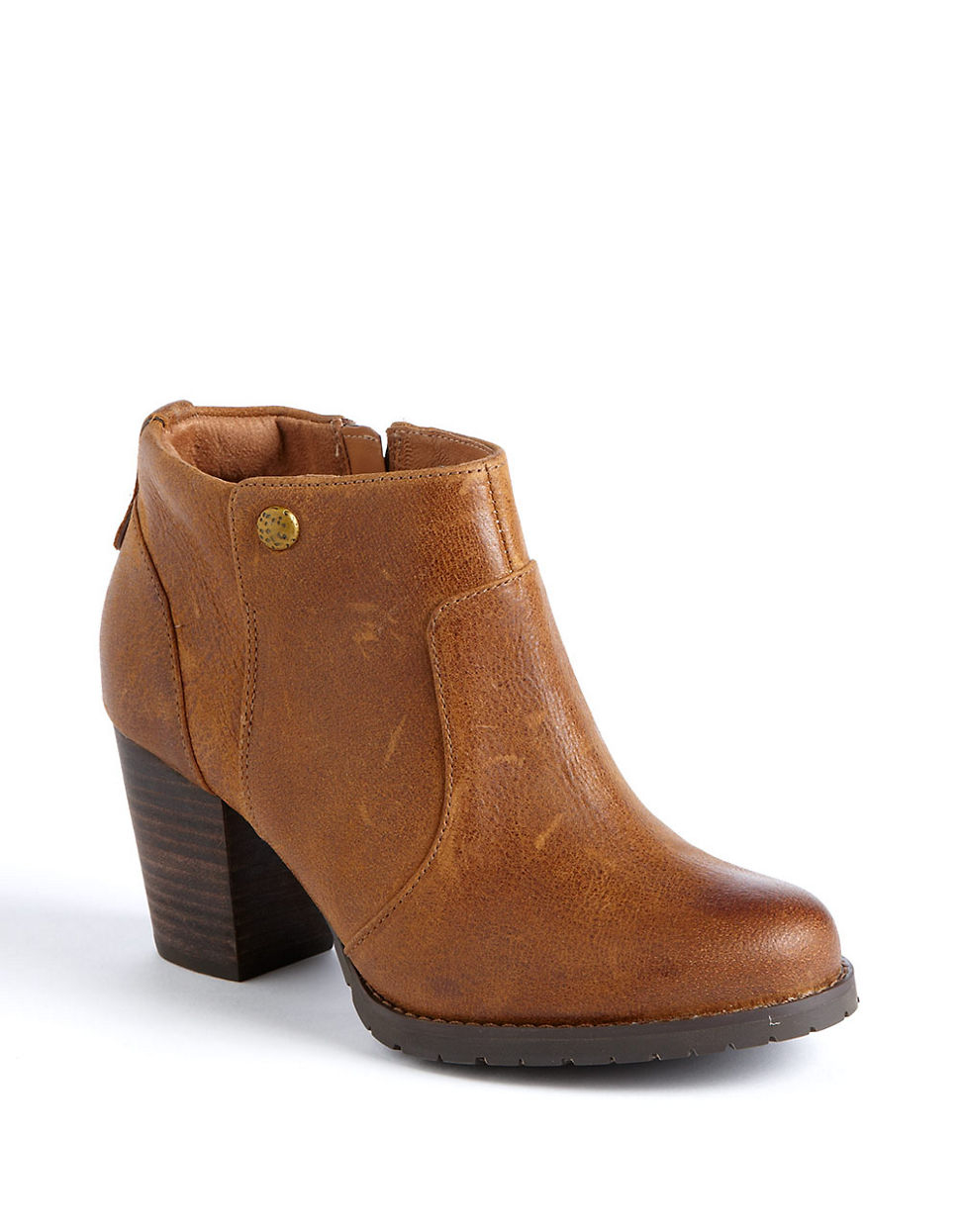 clarks mission philby leather ankle boots in brown lyst