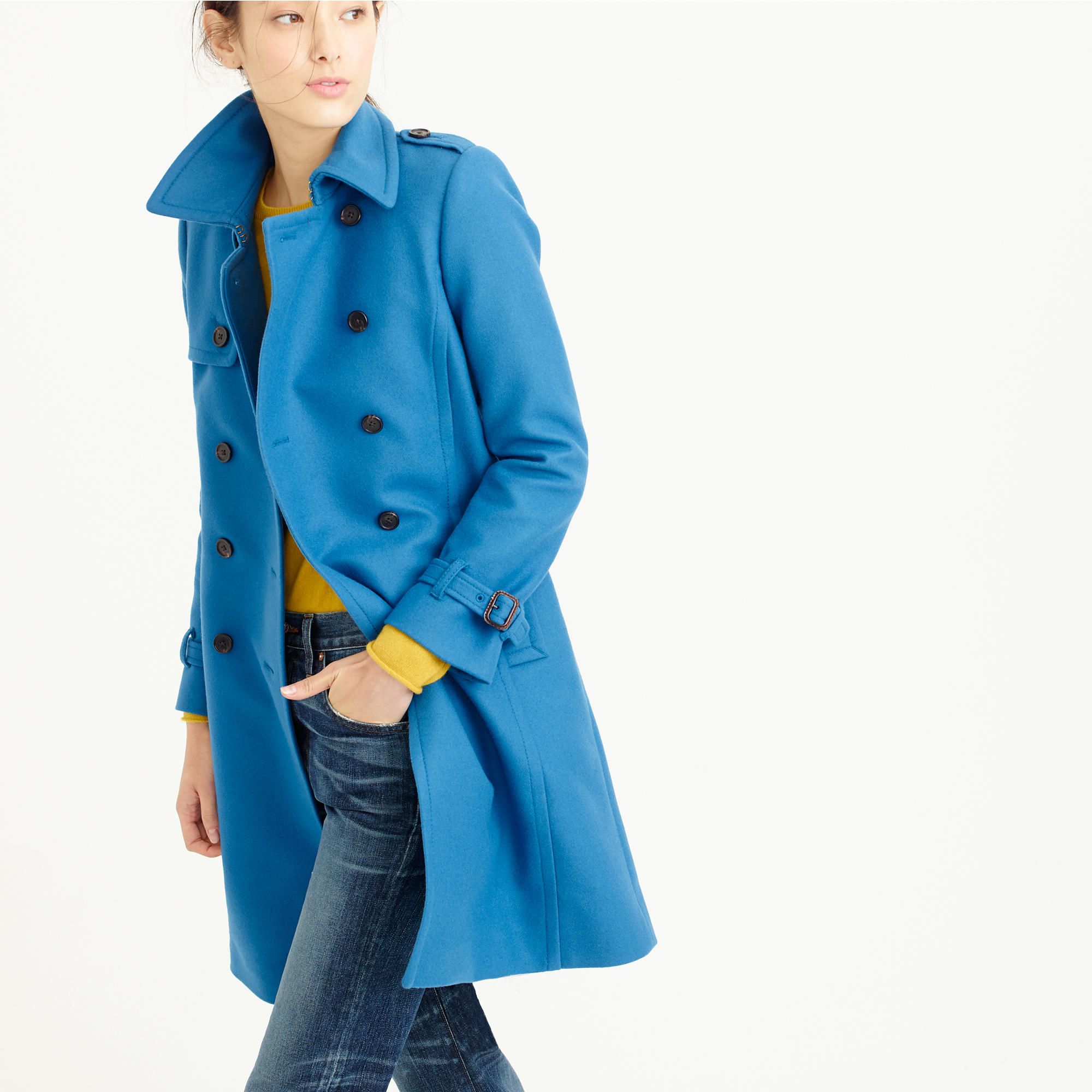 J.Crew Petite Icon Trench Coat In Wool Cashmere in Blue - Lyst acf25525f286