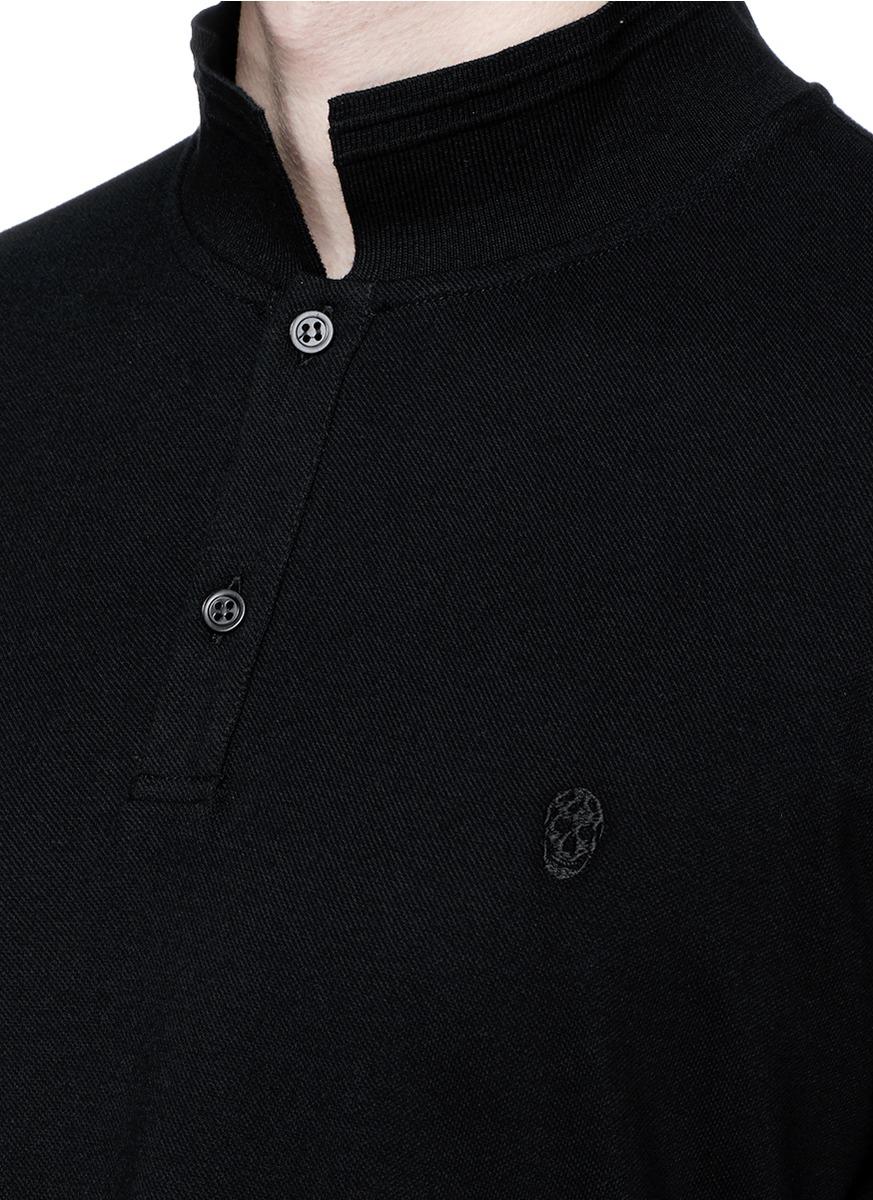 Lyst Alexander Mcqueen Skull Logo Embroidery Polo Shirt In Black