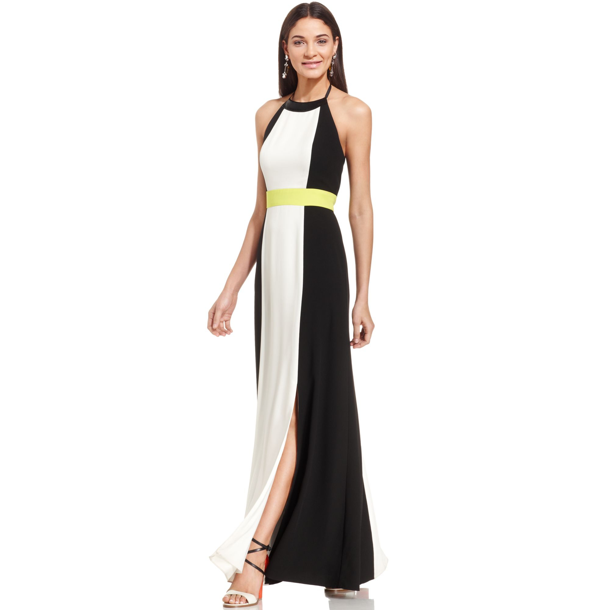 Lyst - Vince Camuto Colorblock Halter Maxi Dress in Black