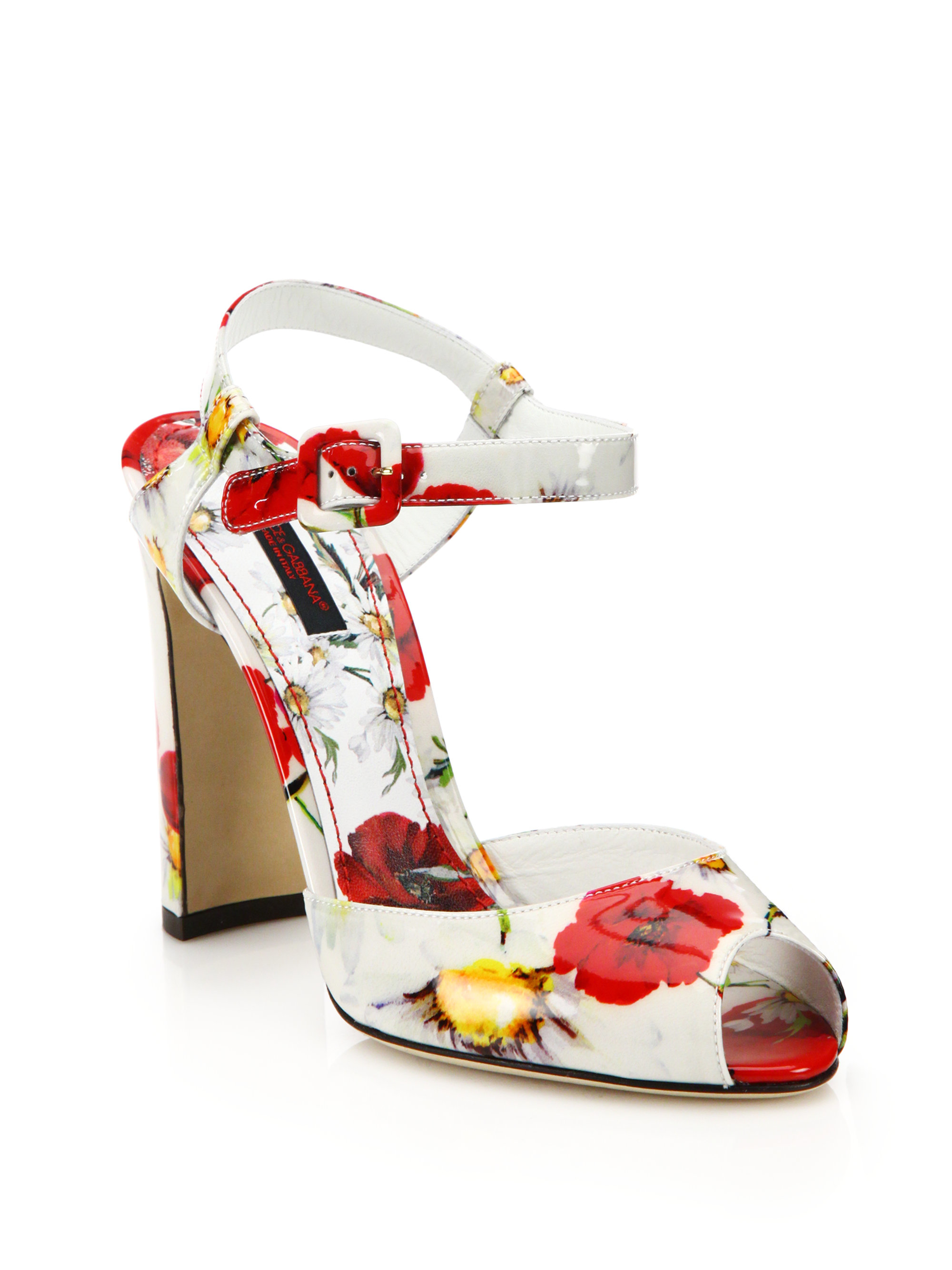Dolce & Gabbana Printed Leather Sandals cheap in China recommend for sale cheap prices reliable 7LIPnjK1s