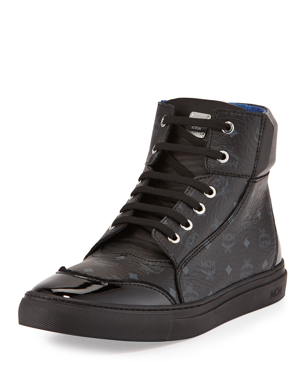 Mcm Leather High-top Sneaker In Black For Men