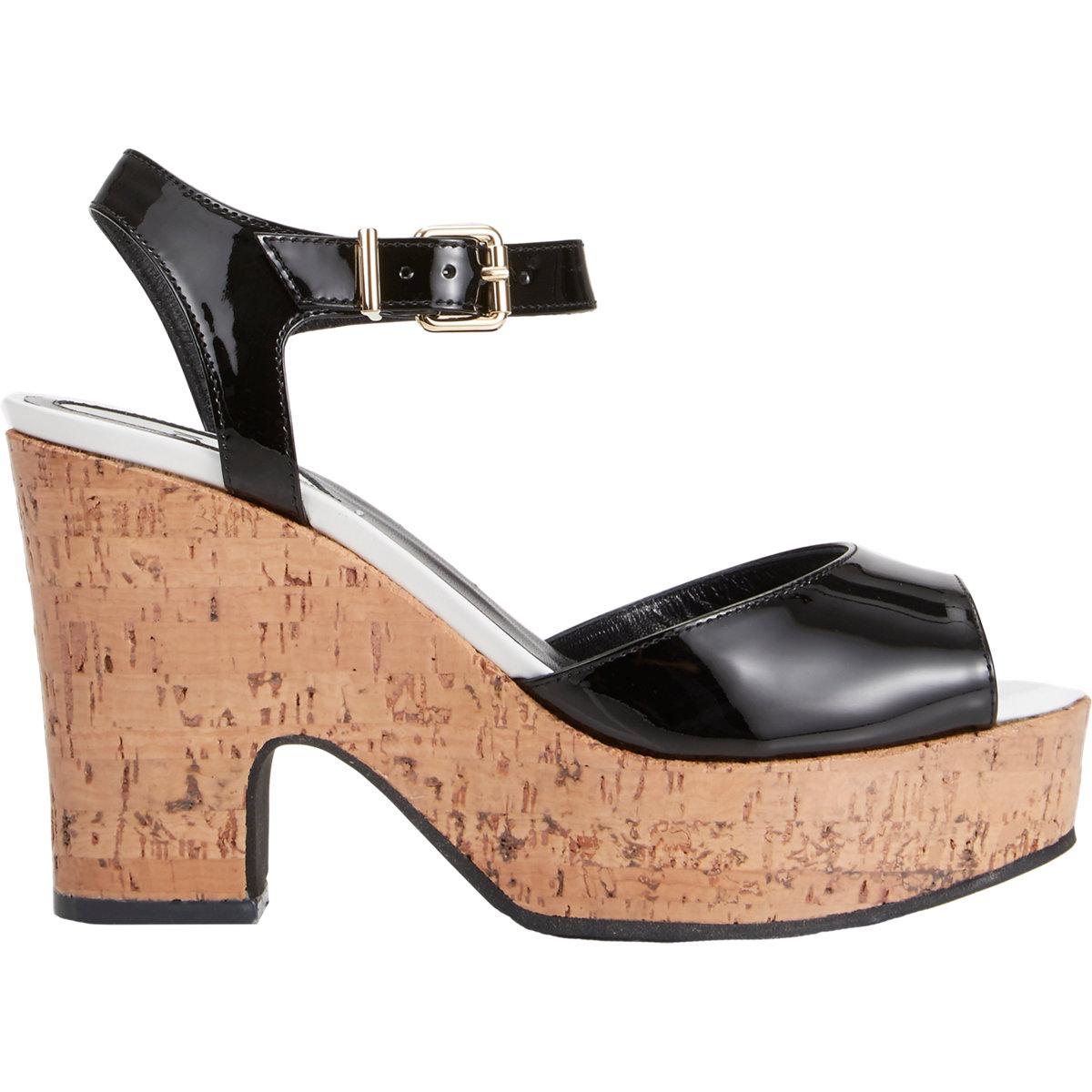 7888a4b5f37 Lyst - Fendi Cecilia Platform Wedge Sandals in Black