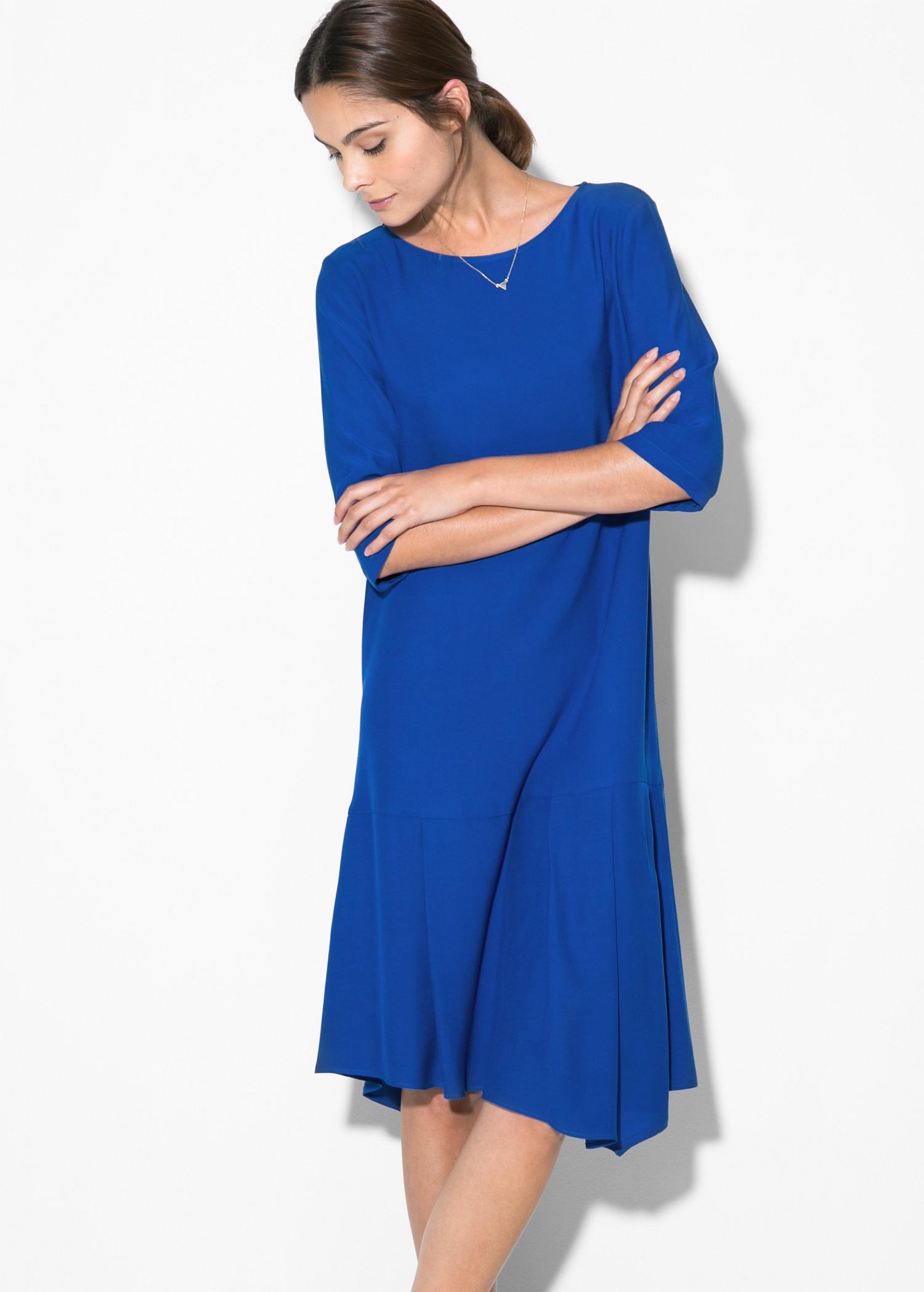 Mango fluted hem dress in blue lyst gallery ombrellifo Gallery
