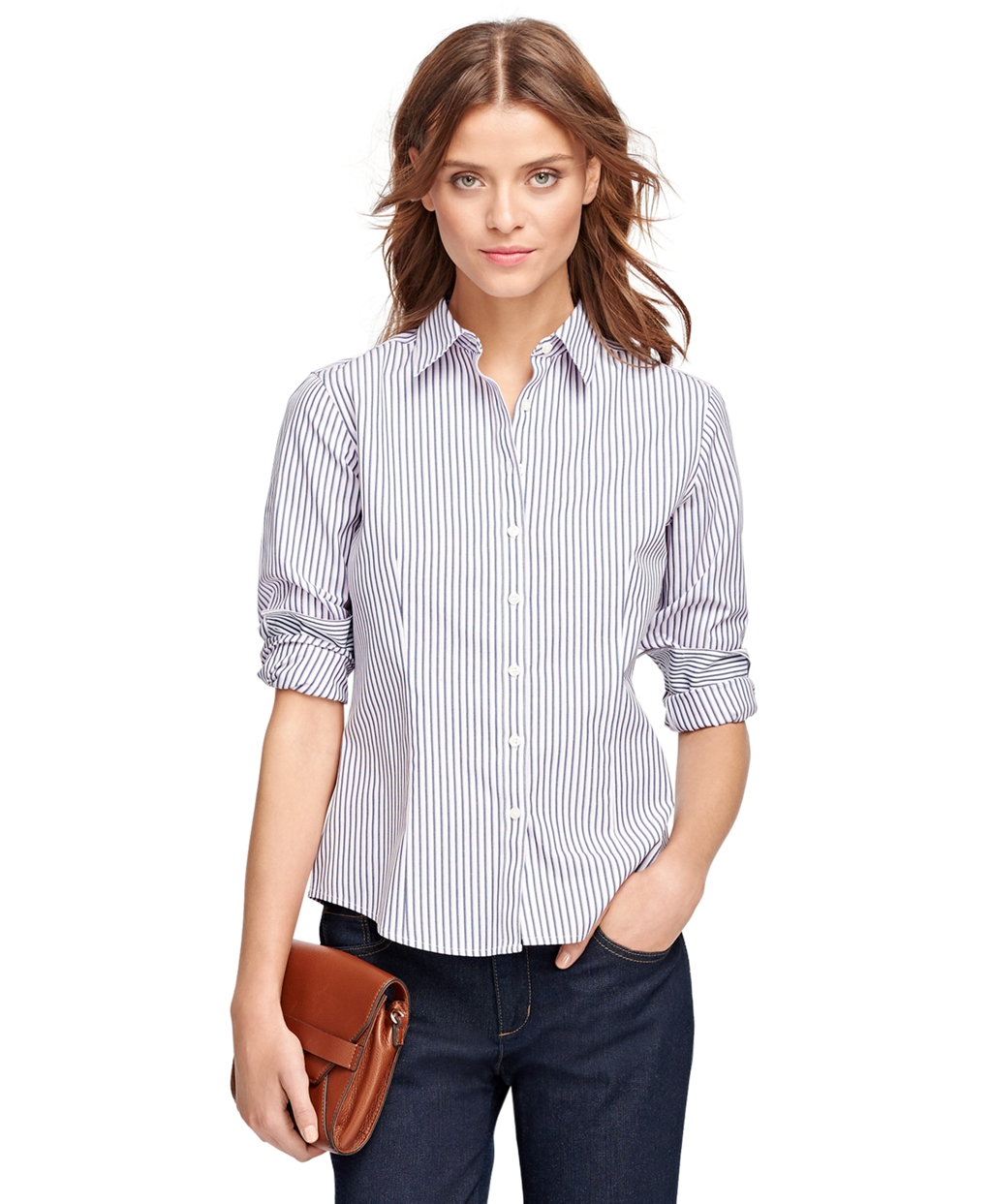 Brooks brothers pink petite non iron fitted stripe dress for Brooks brothers non iron shirts review