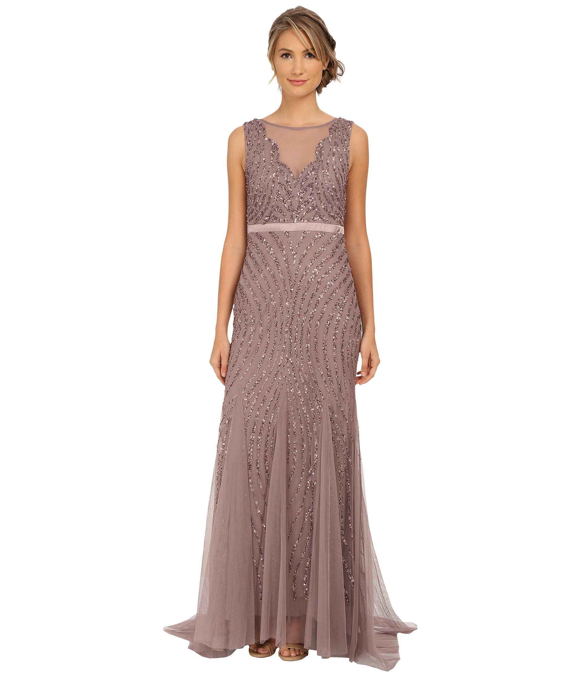Lyst - Adrianna Papell Beaded Mermaid Gown in Purple