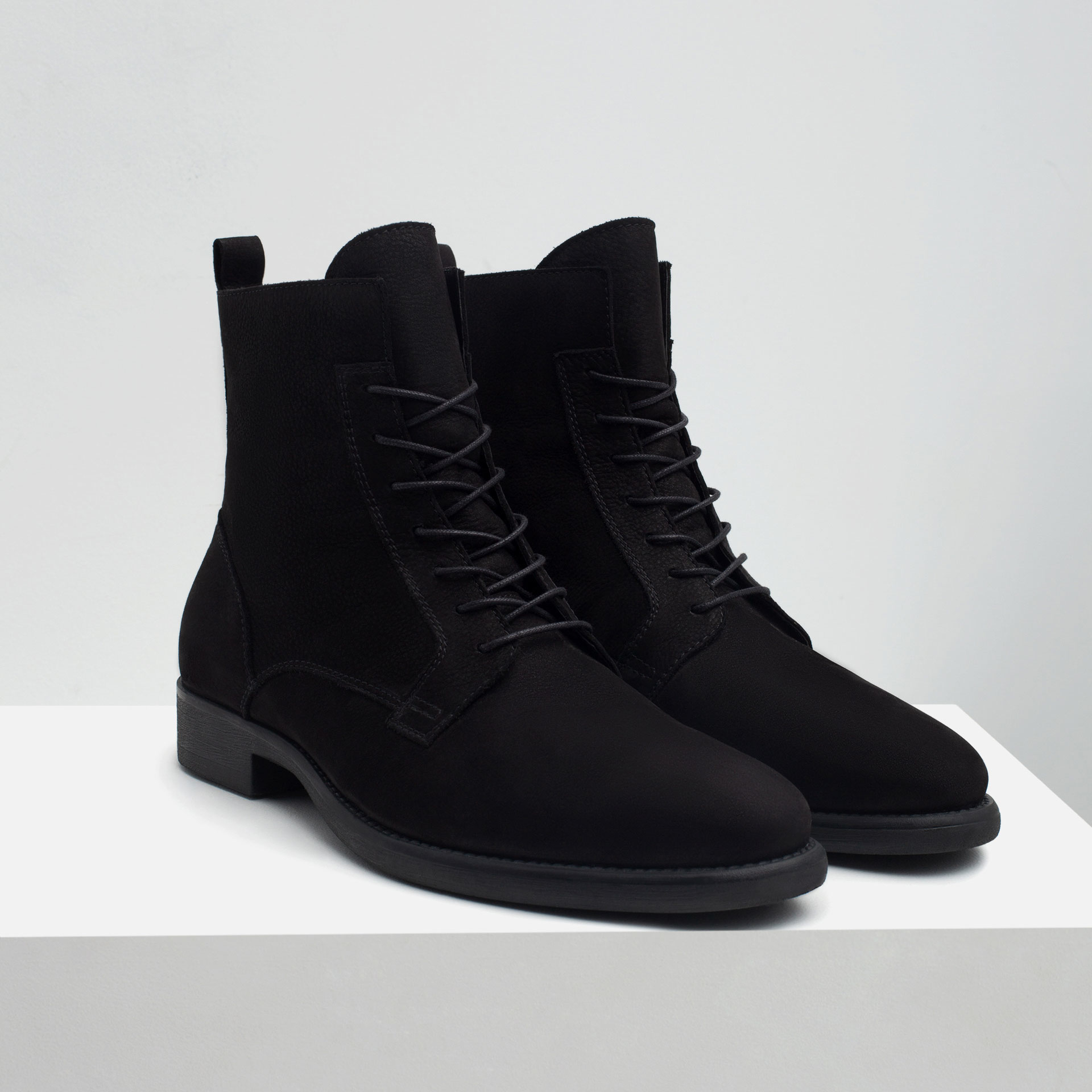 zara soft leather boots in black for lyst