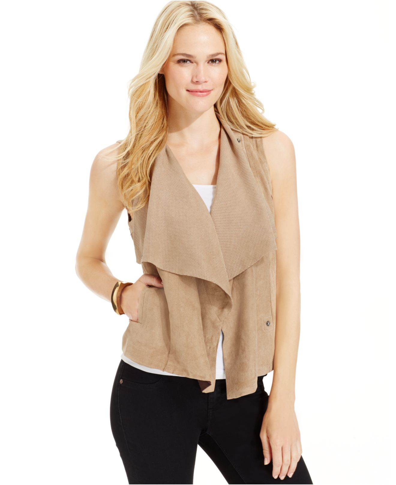 3b7b3ae372fd1b Lyst - Kut From The Kloth Easton Drape-front Sleeveless Vest in Natural