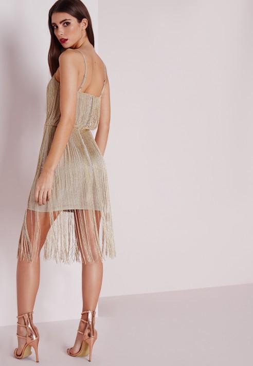 White Gold Fringe Dress