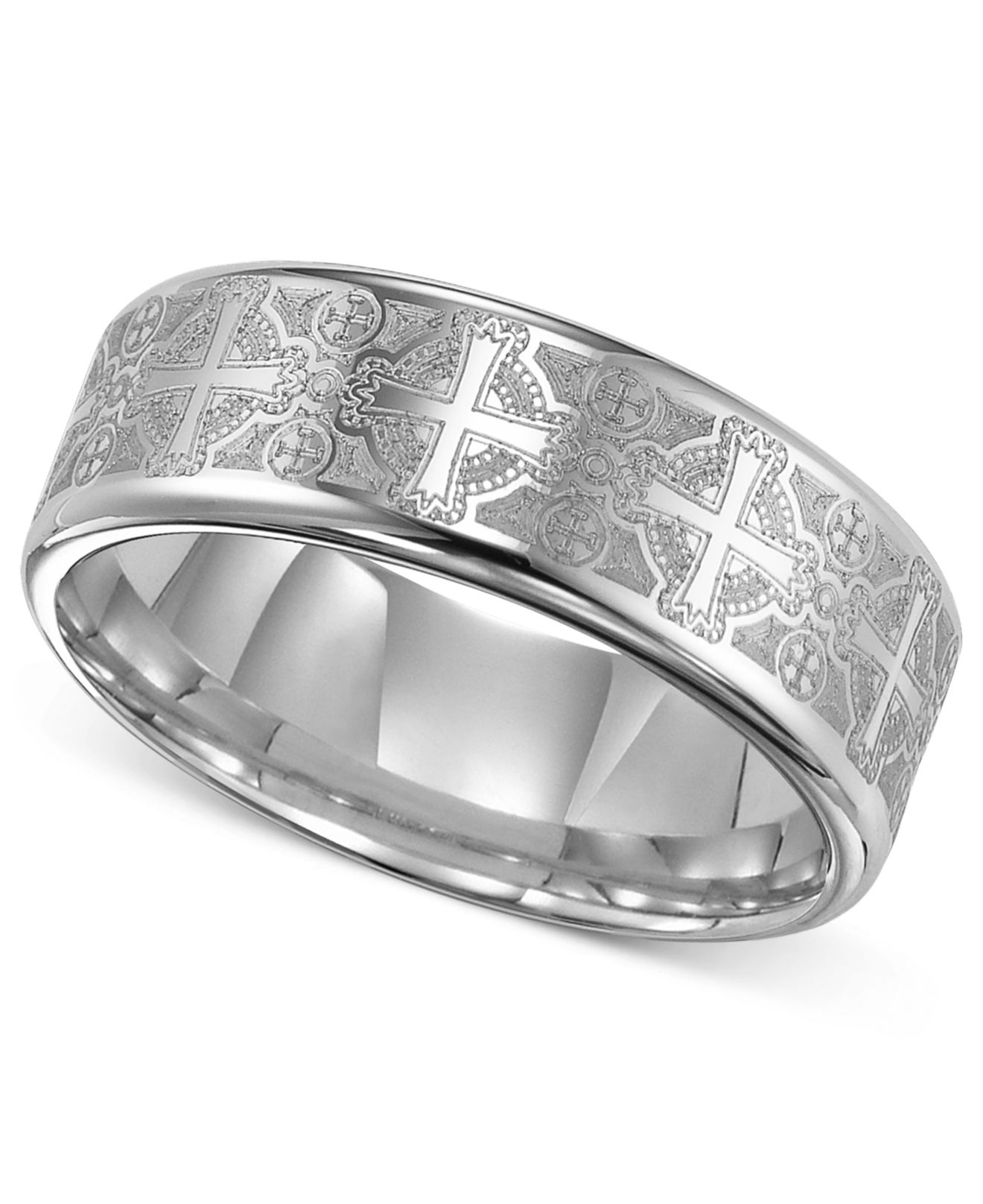 triton men 39 s tungsten carbide ring comfort fit etched cross wedding band in silver for men. Black Bedroom Furniture Sets. Home Design Ideas