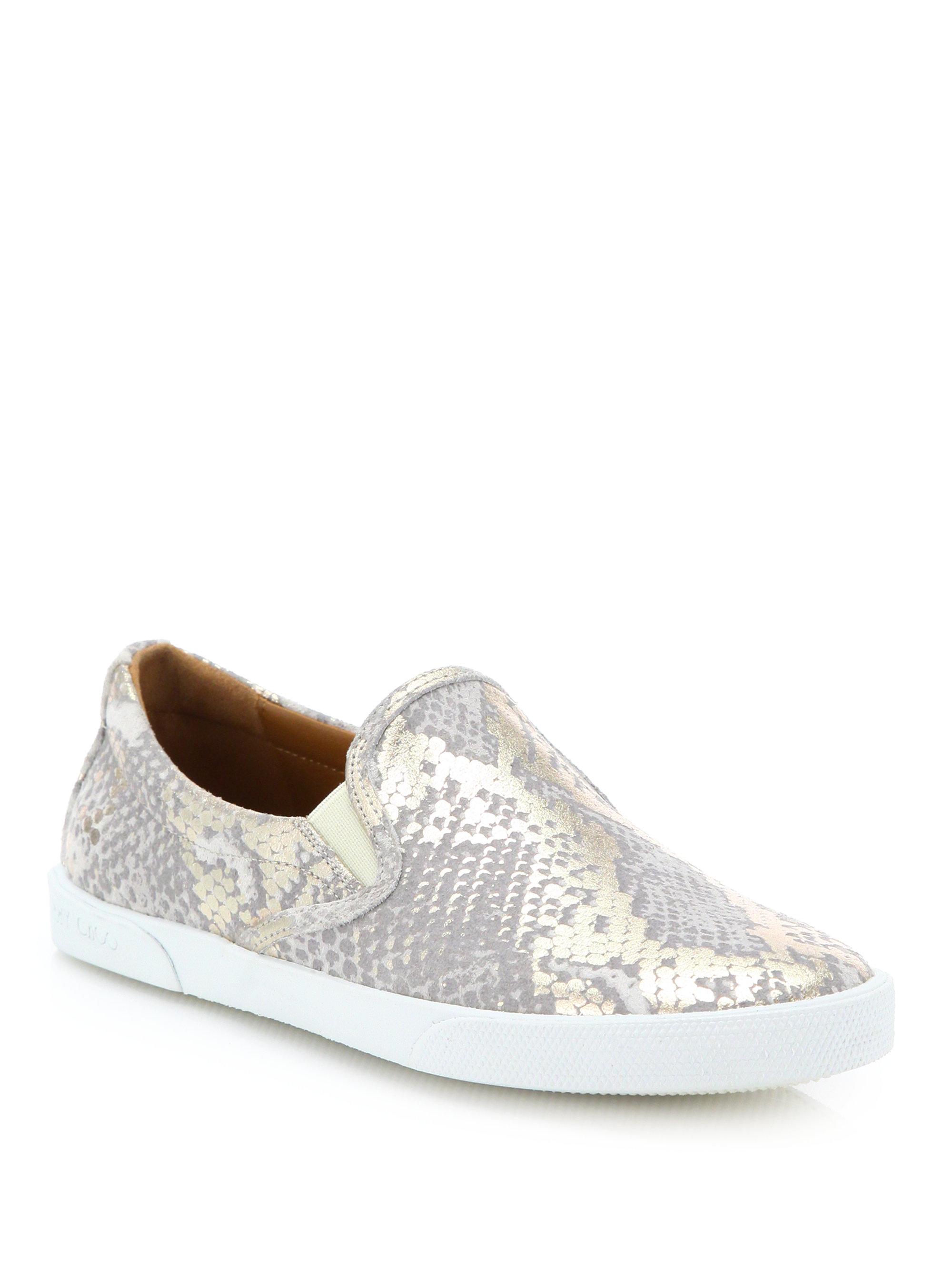 7b5515deb72b Lyst - Jimmy Choo Demi Metallic Snakeskin-print Suede Sneakers in ...