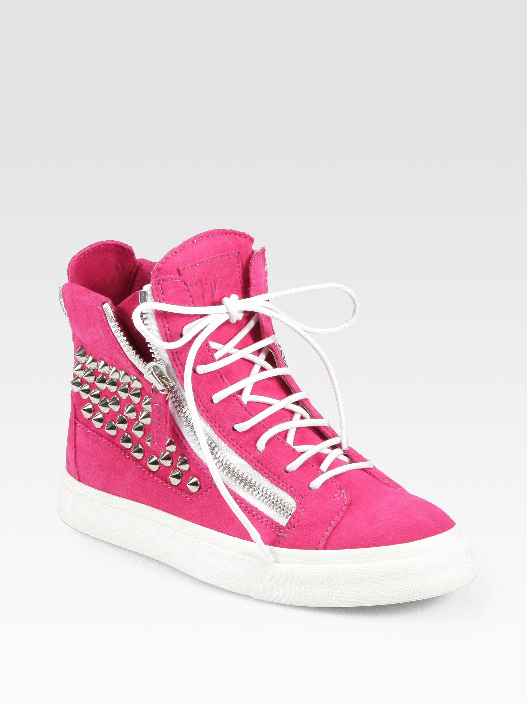 Giuseppe zanotti Studded Suede Wedge Sneakers in Pink | Lyst