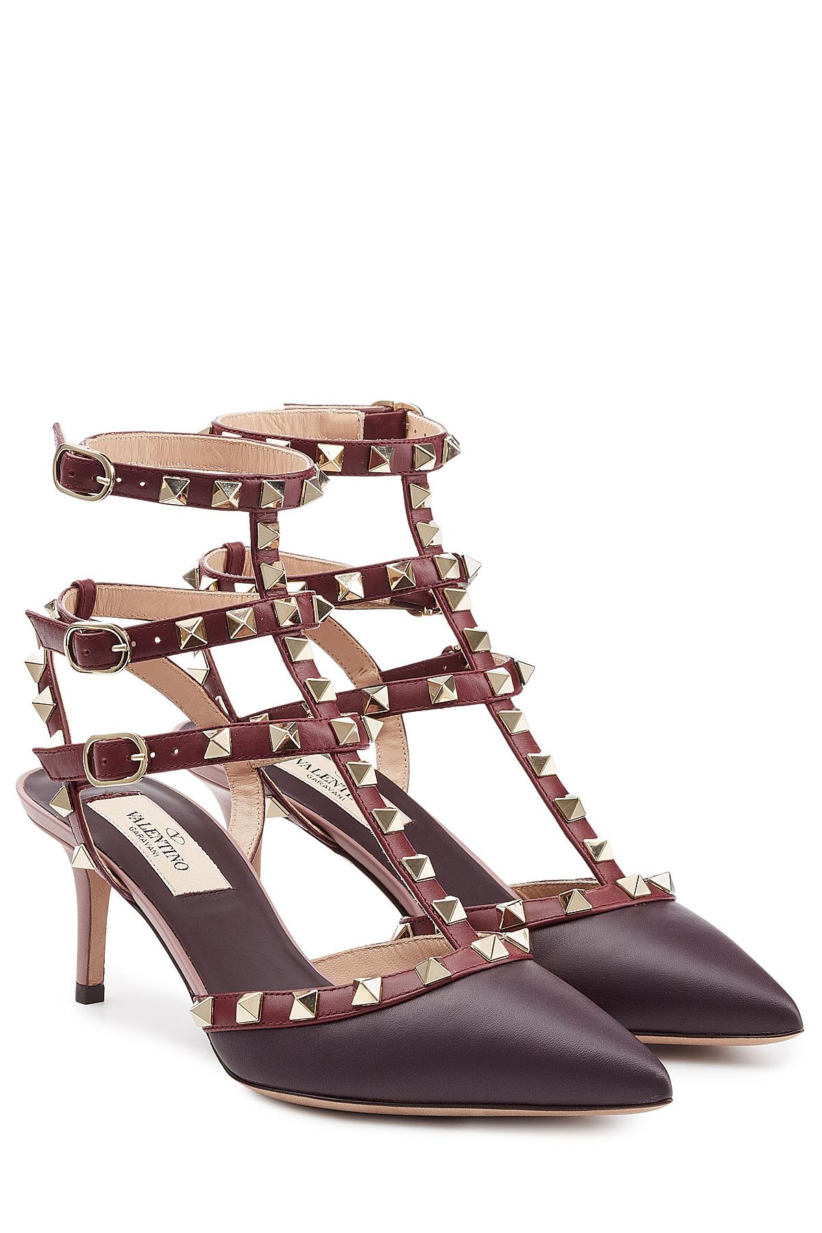 valentino 39 rockstud rolling 39 pumps in brown lyst. Black Bedroom Furniture Sets. Home Design Ideas