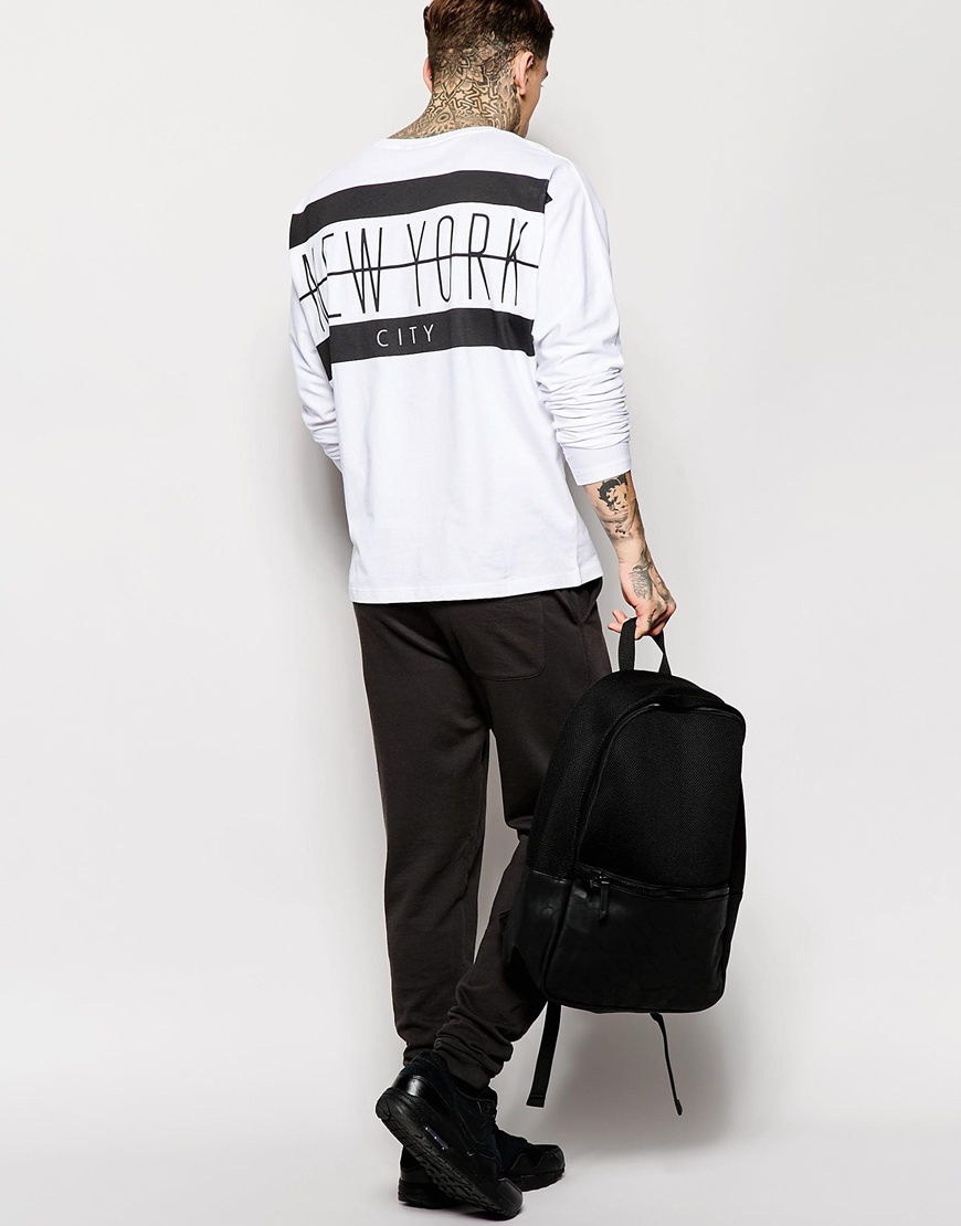 1b903fd5594 Lyst - ASOS Batwing Long Sleeve T-shirt With Nyc Back Print in White ...