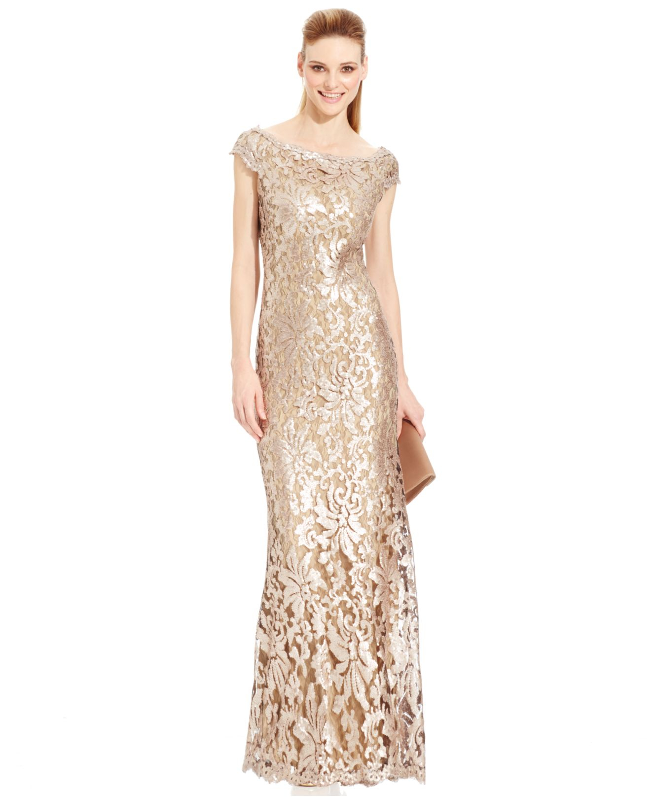 Lyst - Adrianna Papell Sequin-embellished Metallic Gown in Metallic