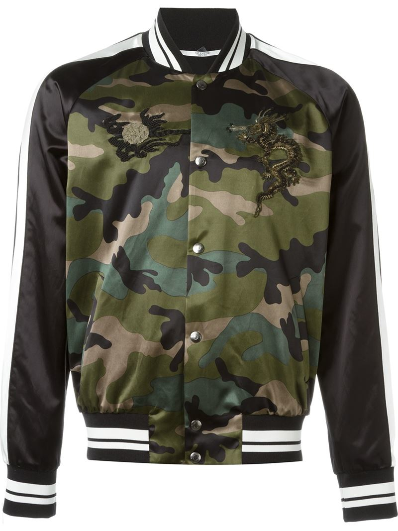 Valentino dragon embroidered bomber jacket in green for