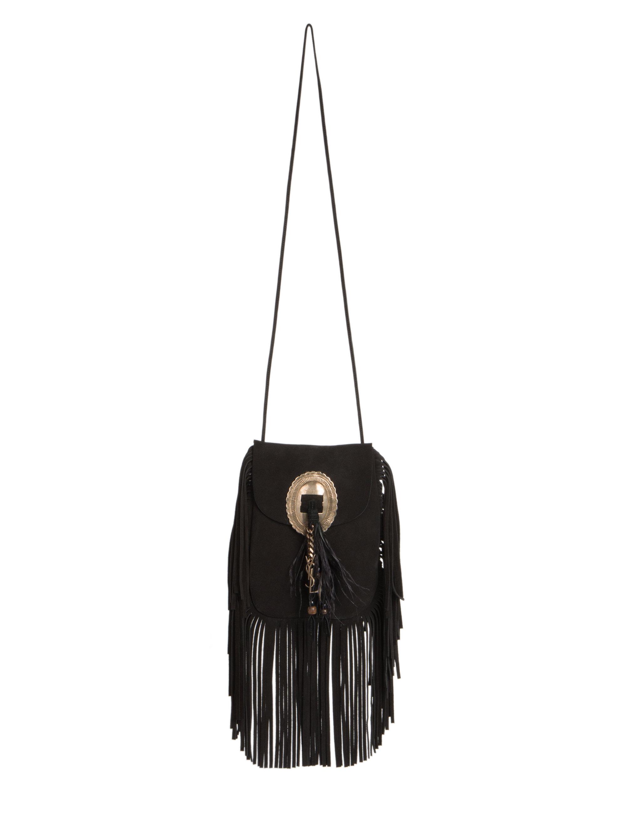 30369a1307cb Lyst - Saint Laurent Anita Fringe Suede Crossbody Bag in Black