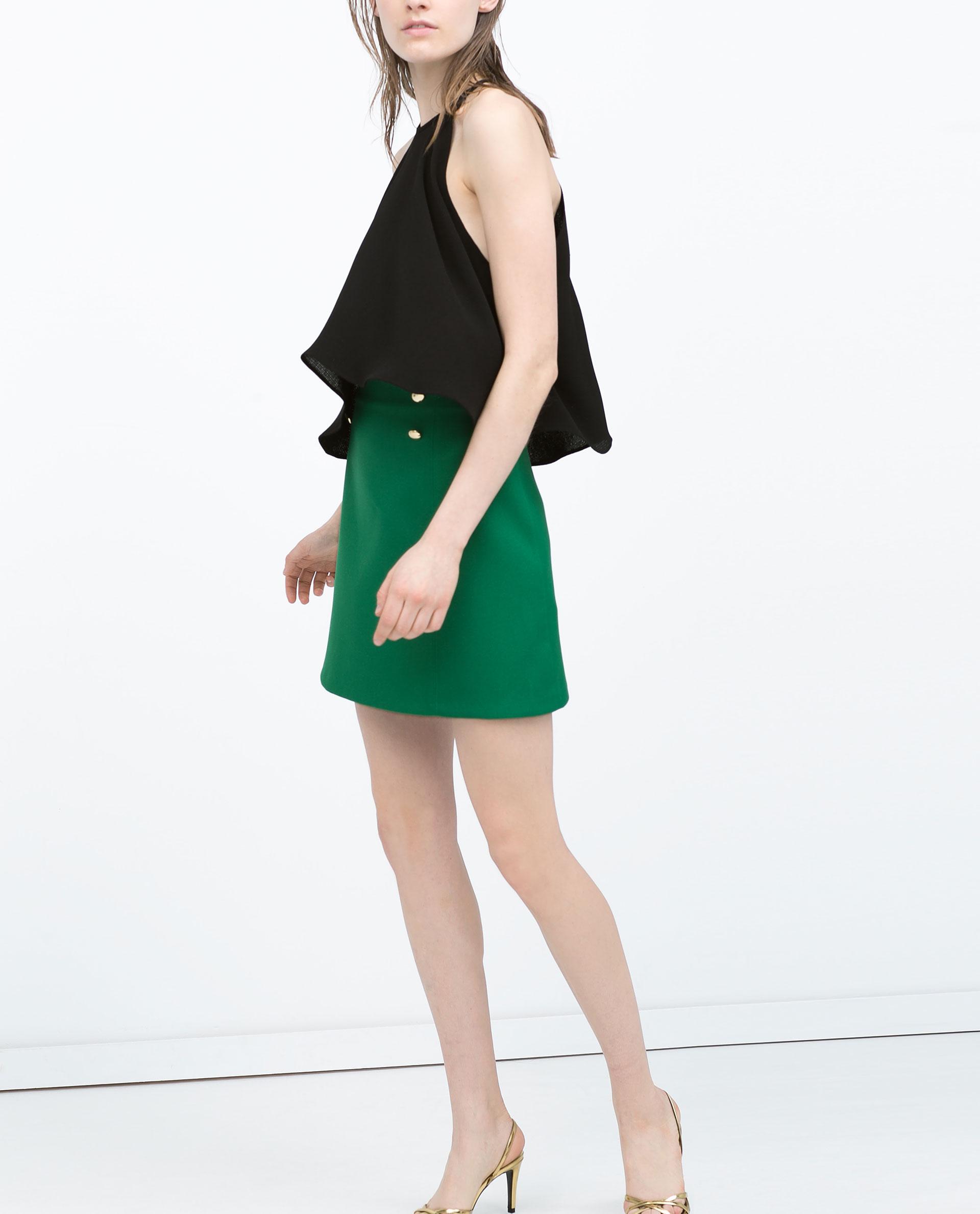 Zara Buttoned A-Line Skirt Buttoned A-Line Skirt in Green | Lyst