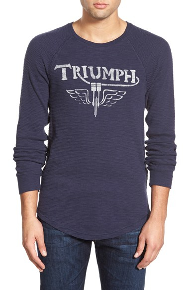Lucky Brand Triumph Long Sleeve Thermal T Shirt In Blue
