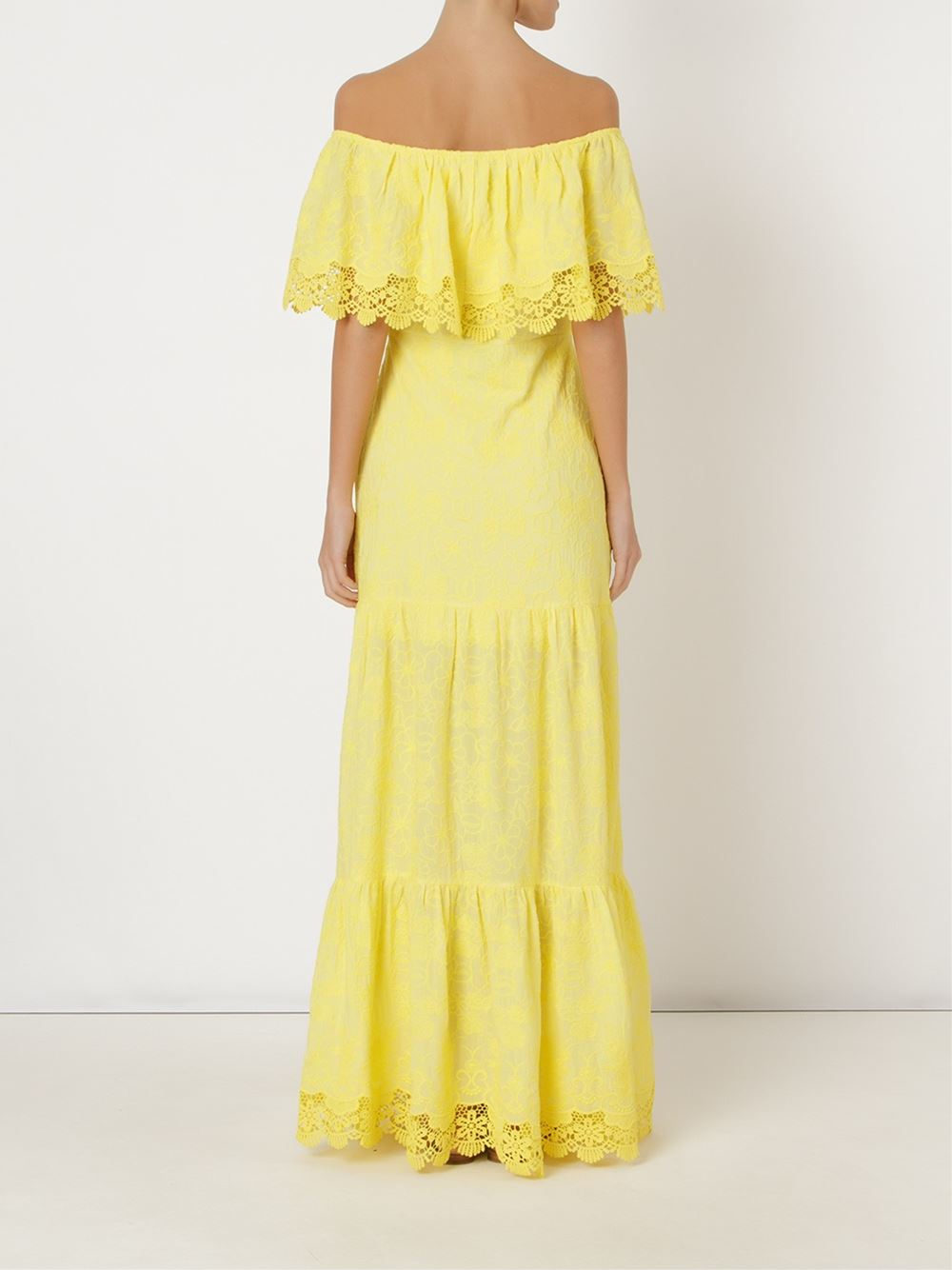 Skinbiquini Ruffled Off-shoulder Maxi Dress in Yellow | Lyst