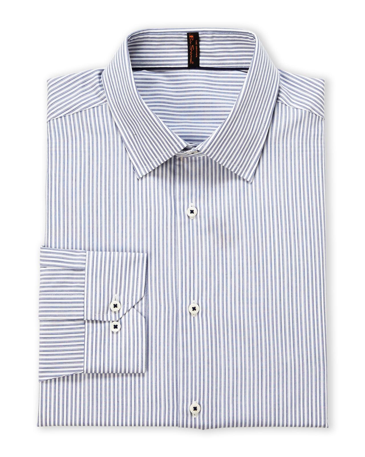 Ben sherman blue white stripe super slim fit dress shirt for Super slim dress shirts