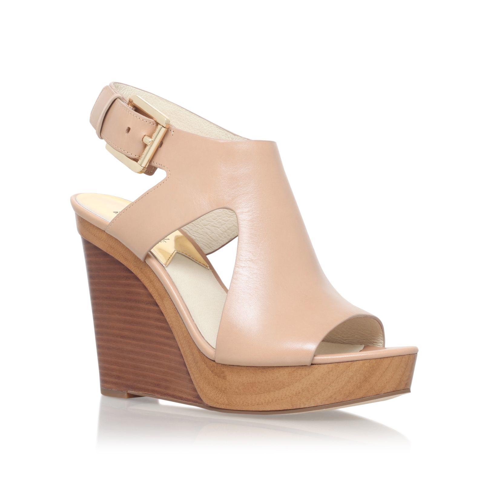 michael kors josephine high heel wedge sandals in natural. Black Bedroom Furniture Sets. Home Design Ideas